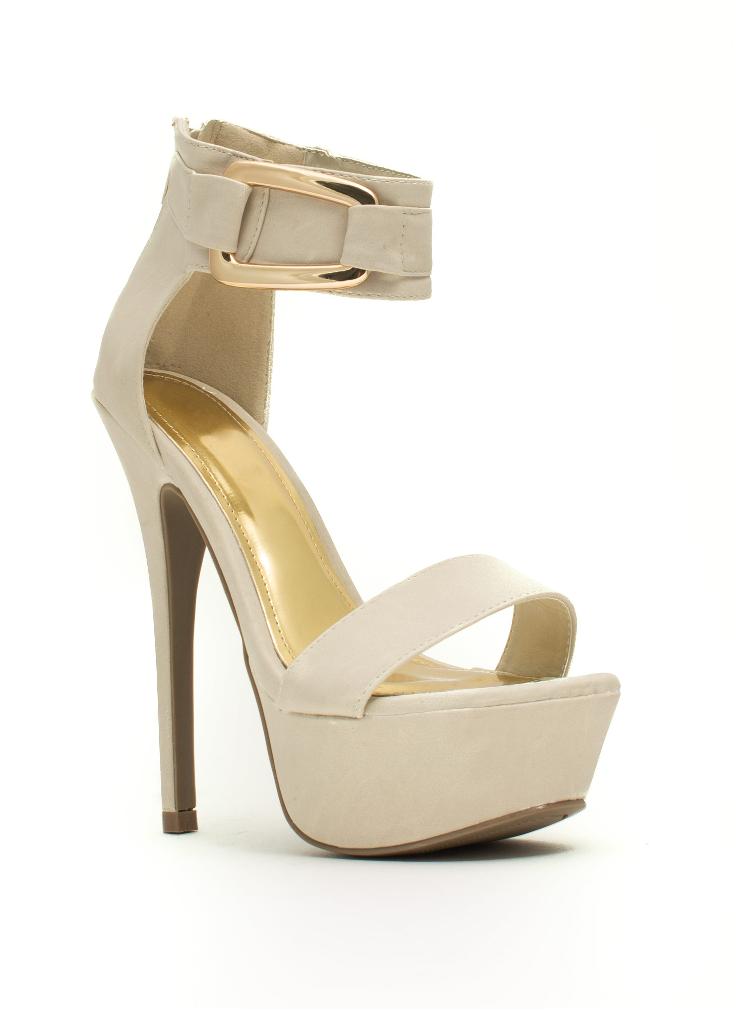 Good Luck Buckle Platform Heels CREAM