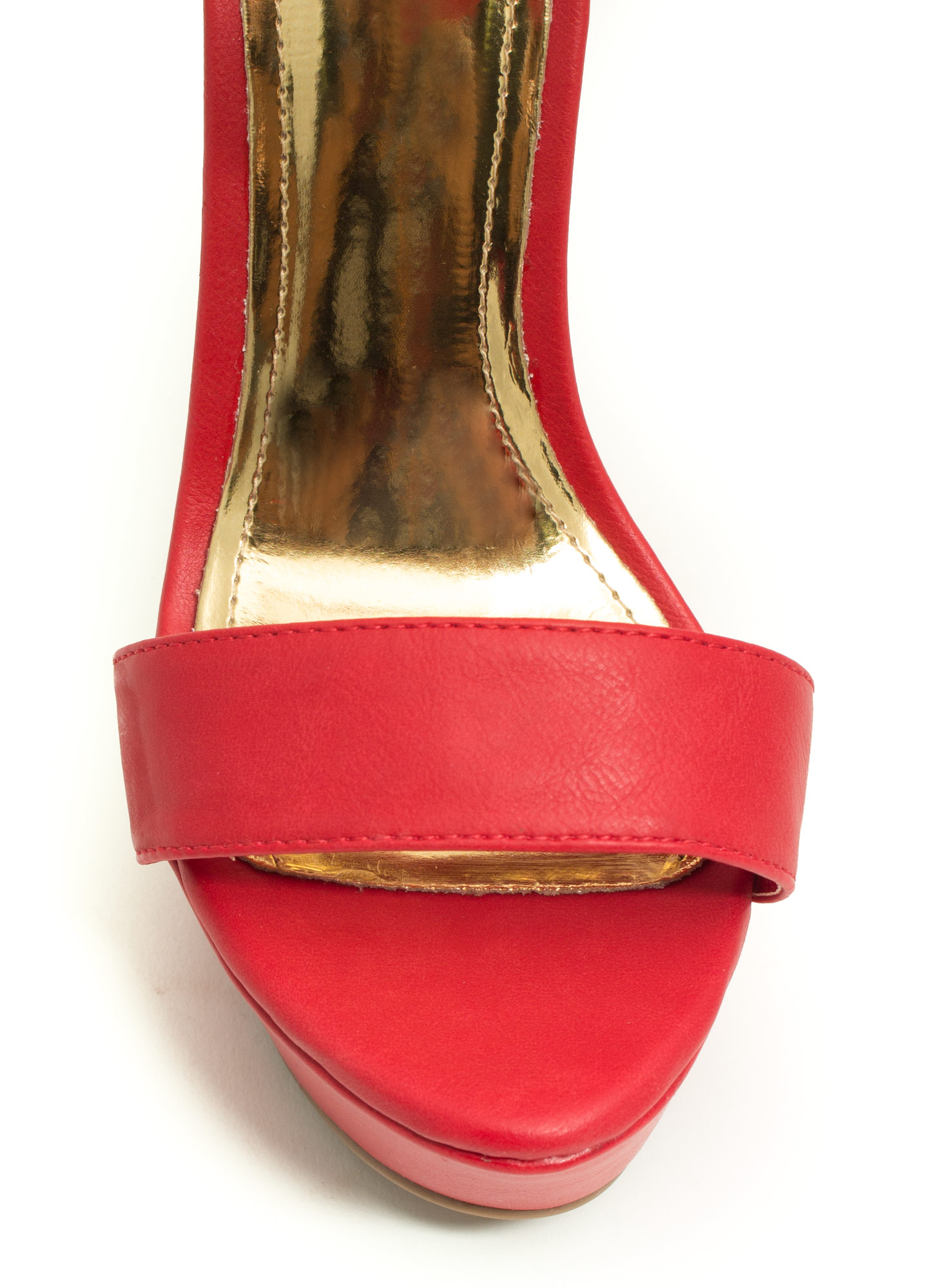 Good Luck Buckle Platform Heels RED