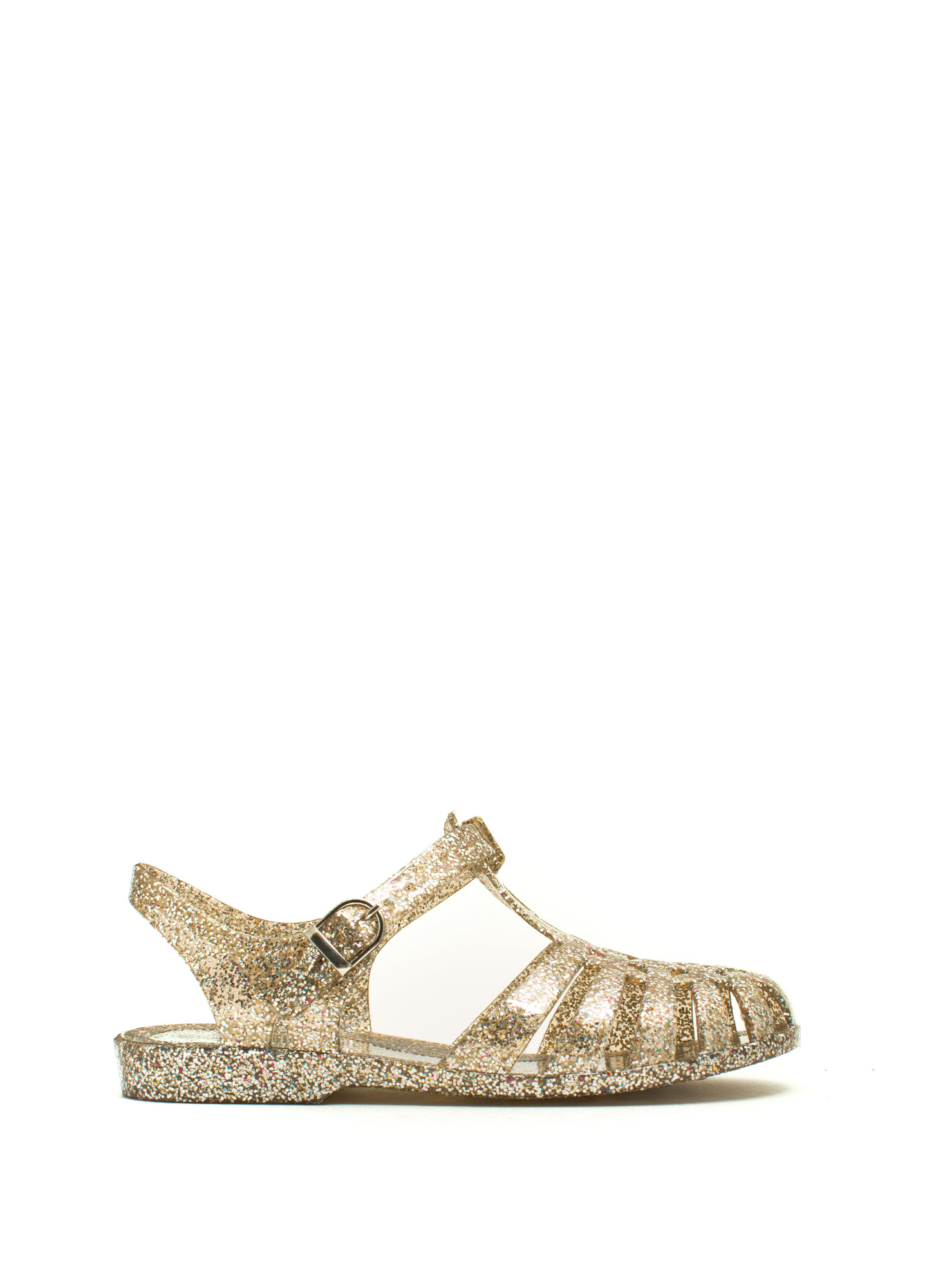 All That Glitters Caged Jelly Sandals CLEARMULTI