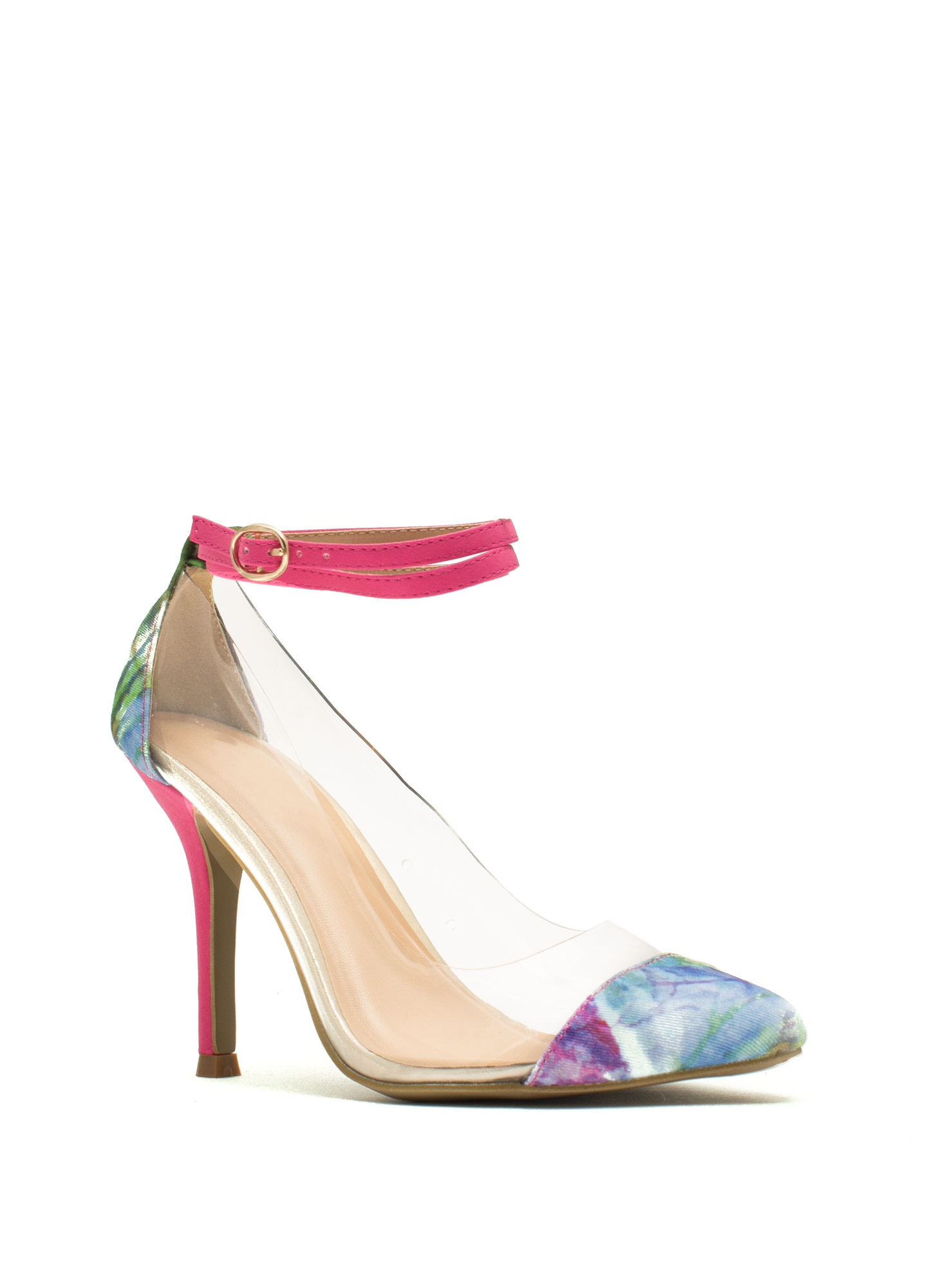 Clearly Floral Ankle Strap Heels PINK