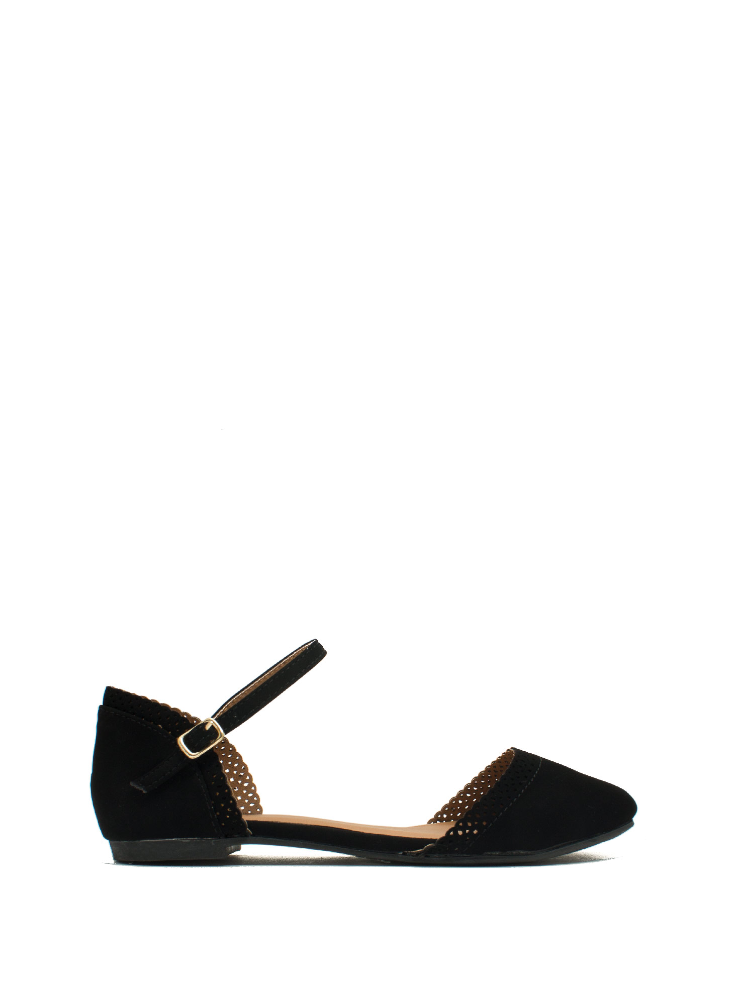 All Eyelets On You Ankle Strap Flats BLACK