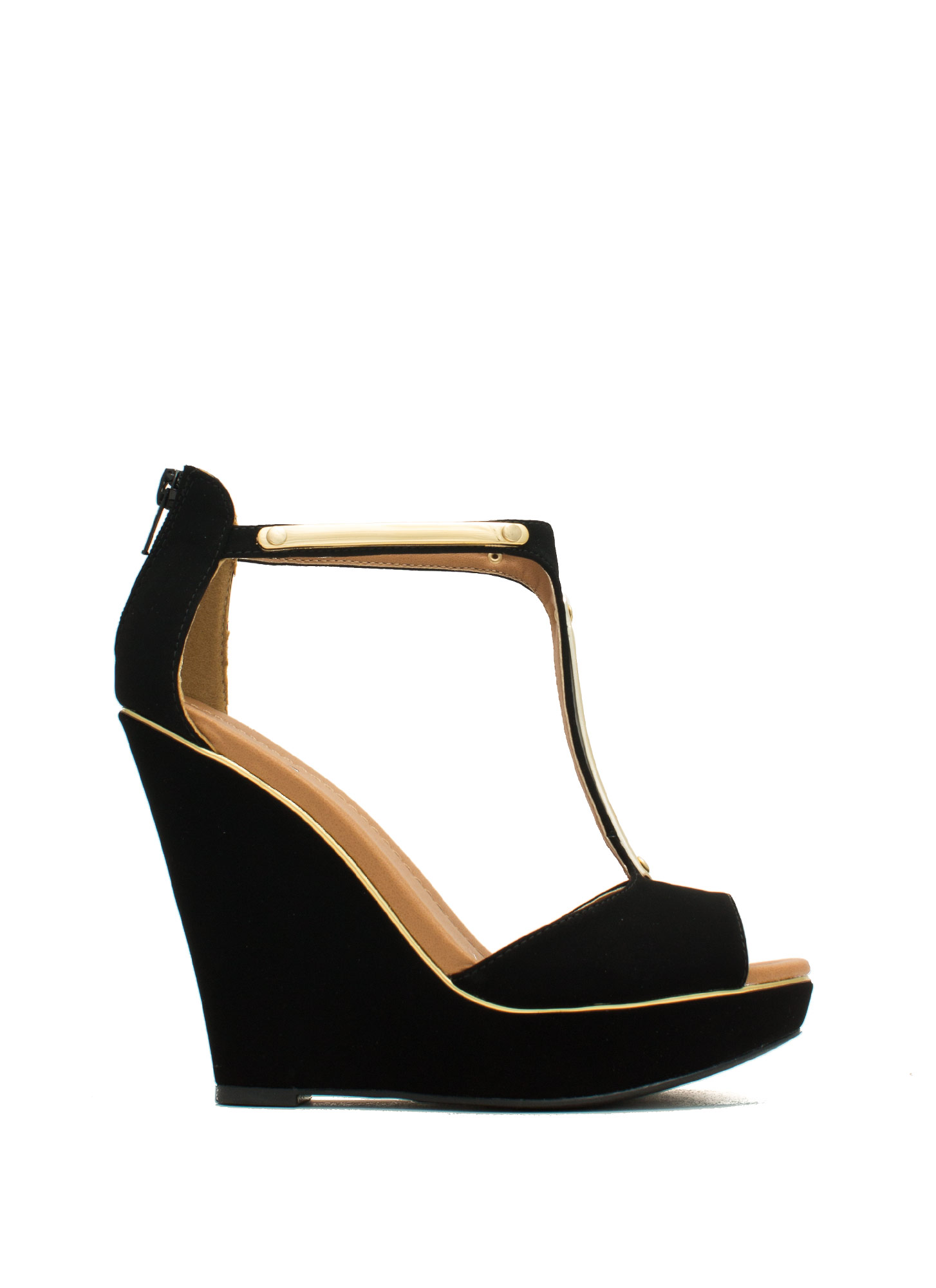Rise And Shine Trimmed T-Strap Wedges BLACK