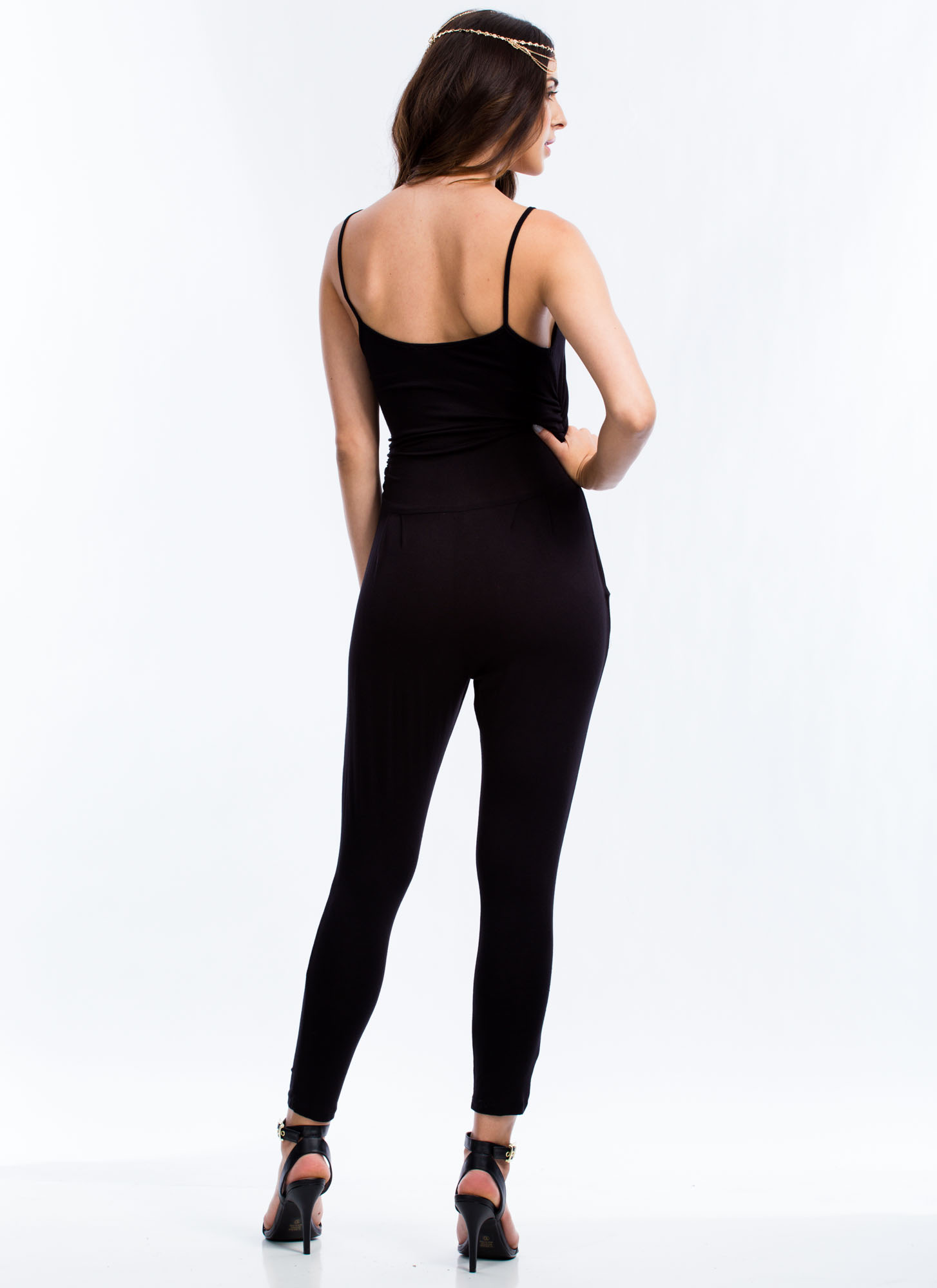 Ruched 'N Ready Surplice Jumpsuit BLACK