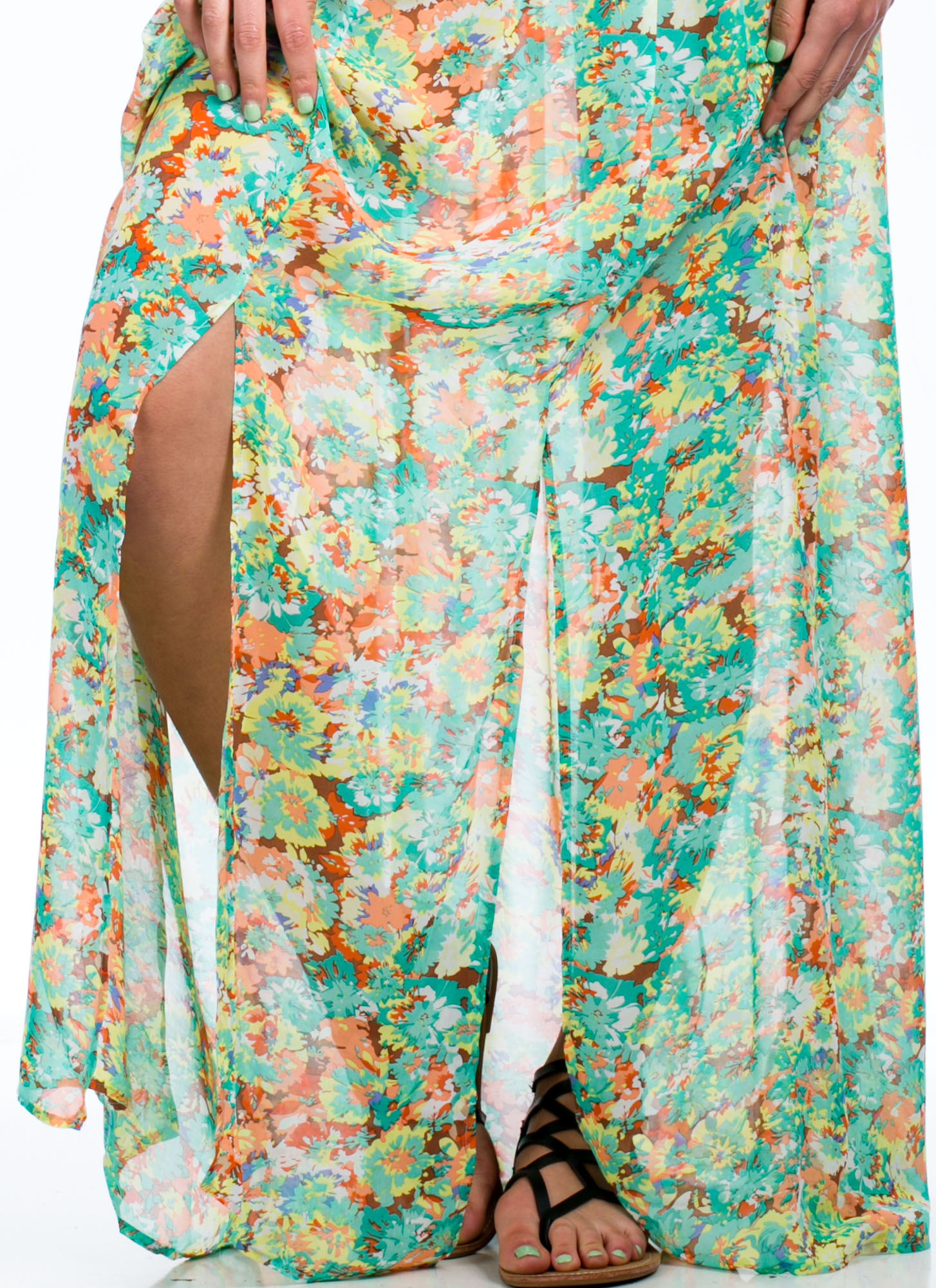 Multi-Slit Flora Print Maxi Skirt MINT