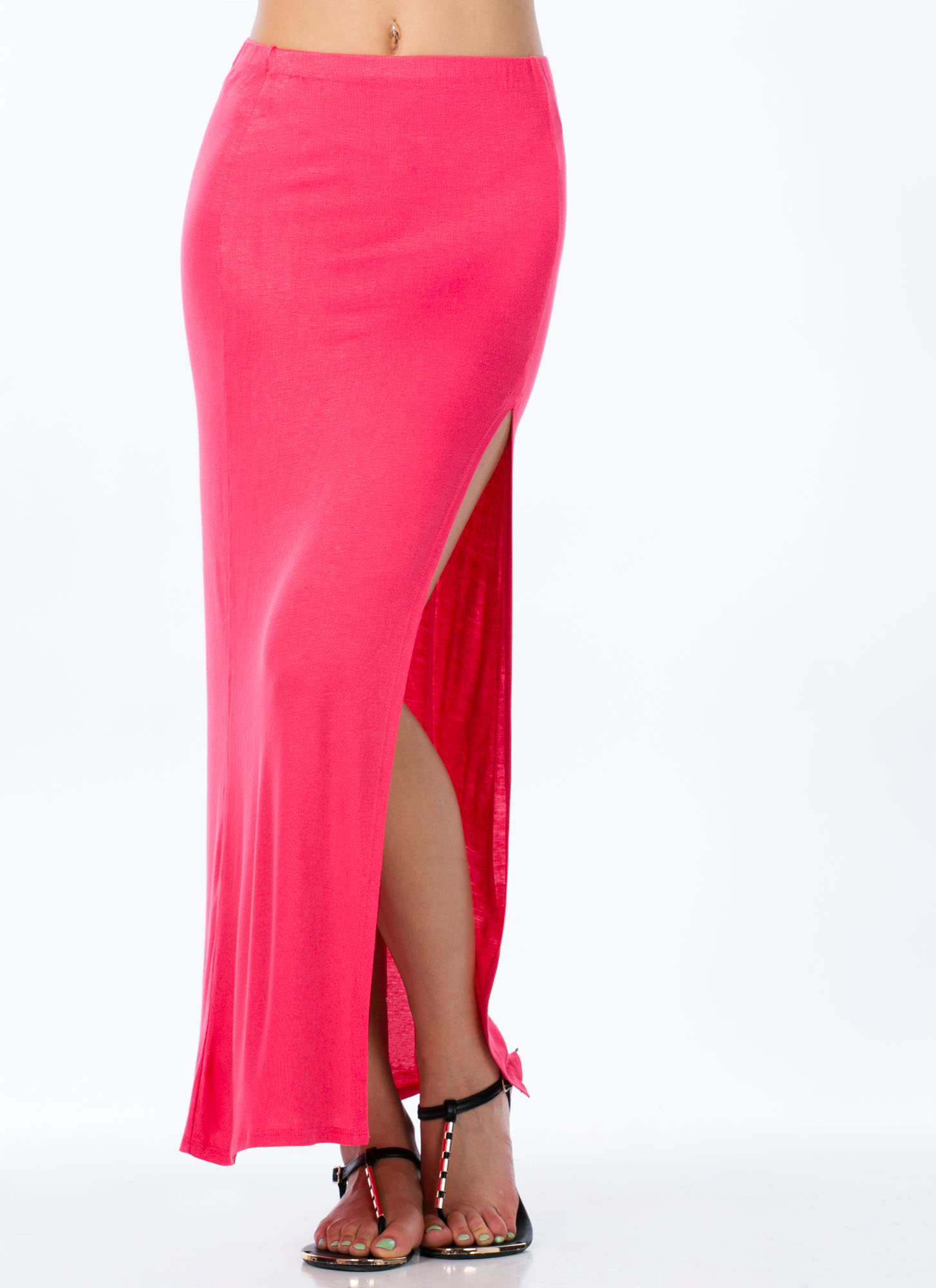Single Slit Maxi Skirt CORAL