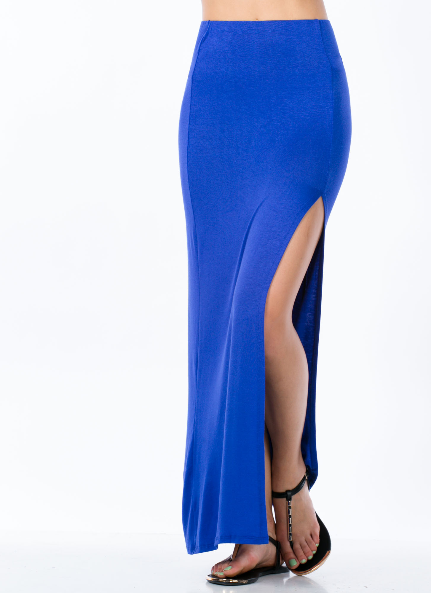 Single Slit Maxi Skirt ROYAL