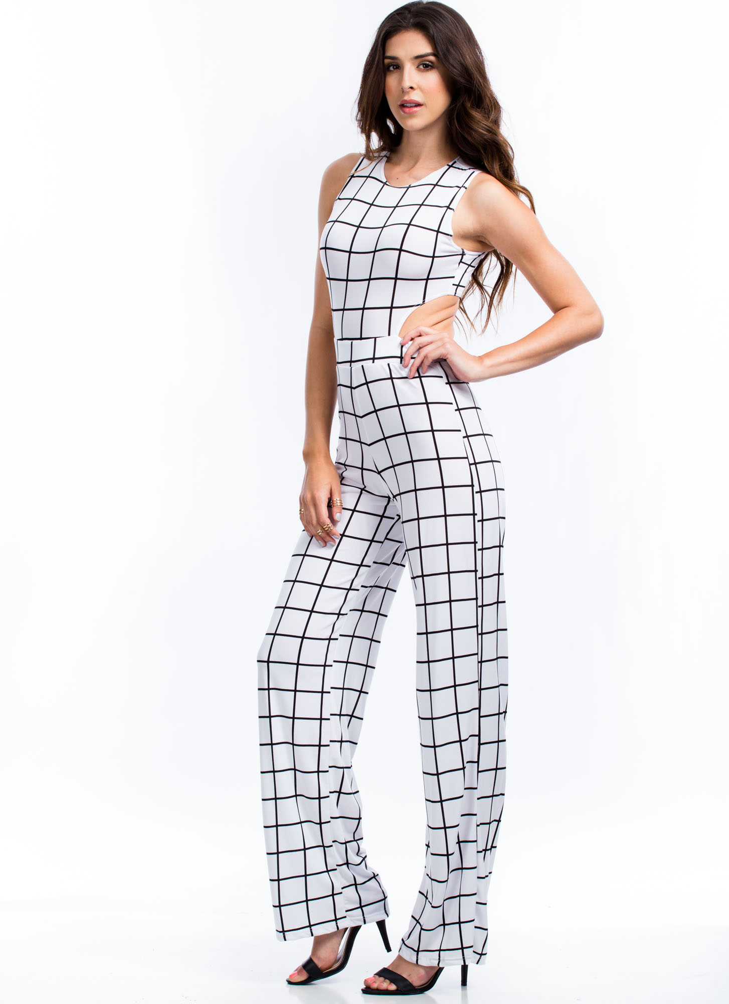 Let The Grid Times Roll Jumpsuit WHITE