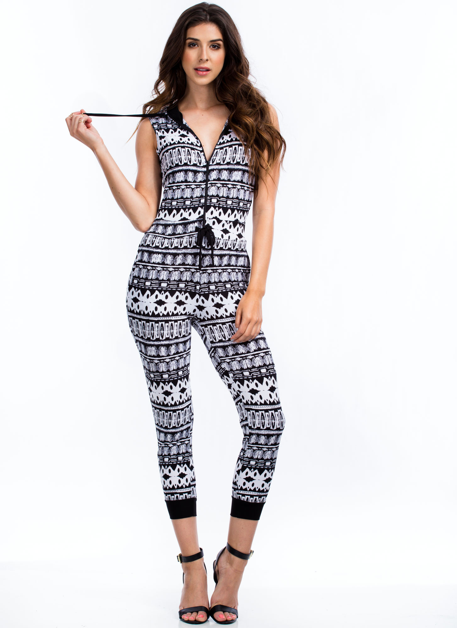 Say What Hooded Abstract Print Jumpsuit WHITE
