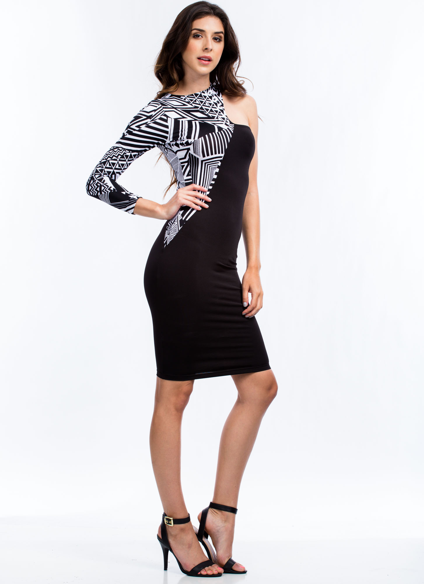One-Shoulder Abstract Contrast Dress BLACK