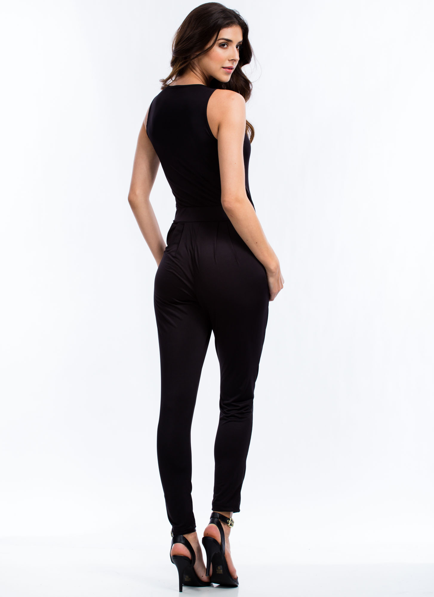 Sporty Luxe Zip Front Jumpsuit BLACK