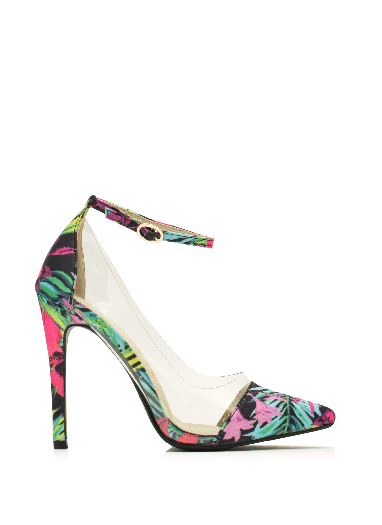 Clearly Tropical Ankle Strap Heels BLACK