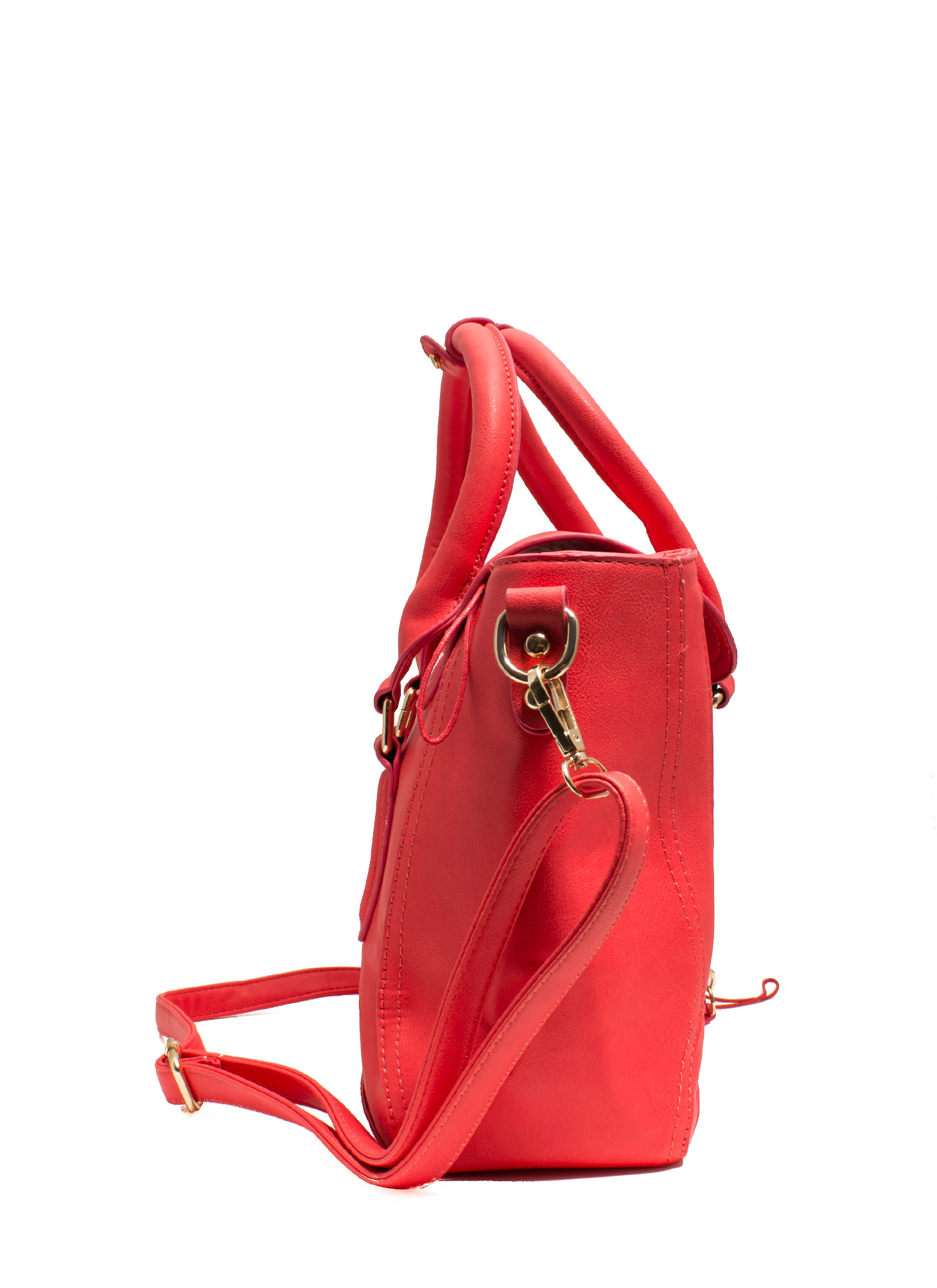 Double Zipper Faux Leather Satchel CORAL