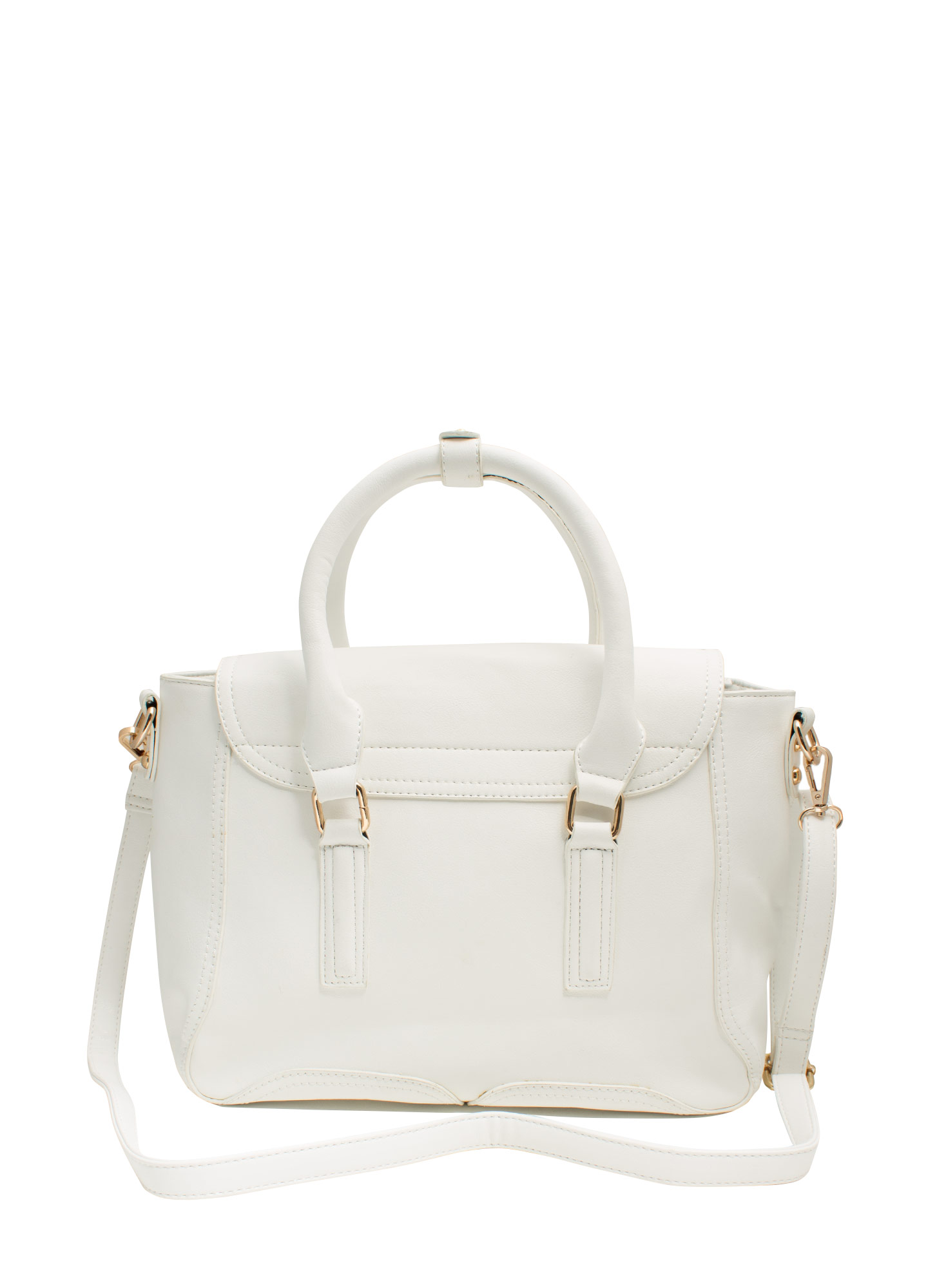 Double Zipper Faux Leather Satchel WHITE