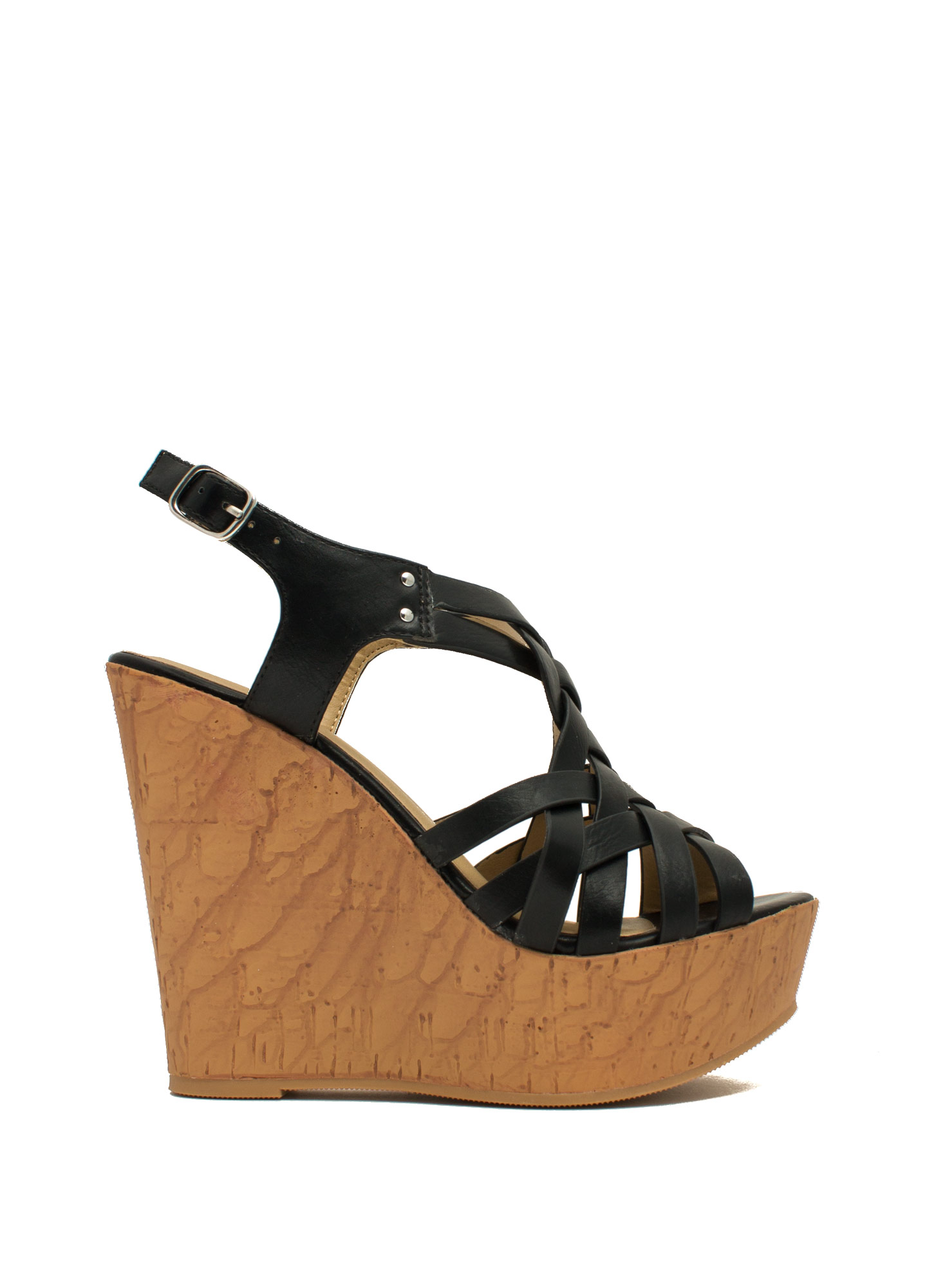 Weave It Alone Platform Wedges BLACK