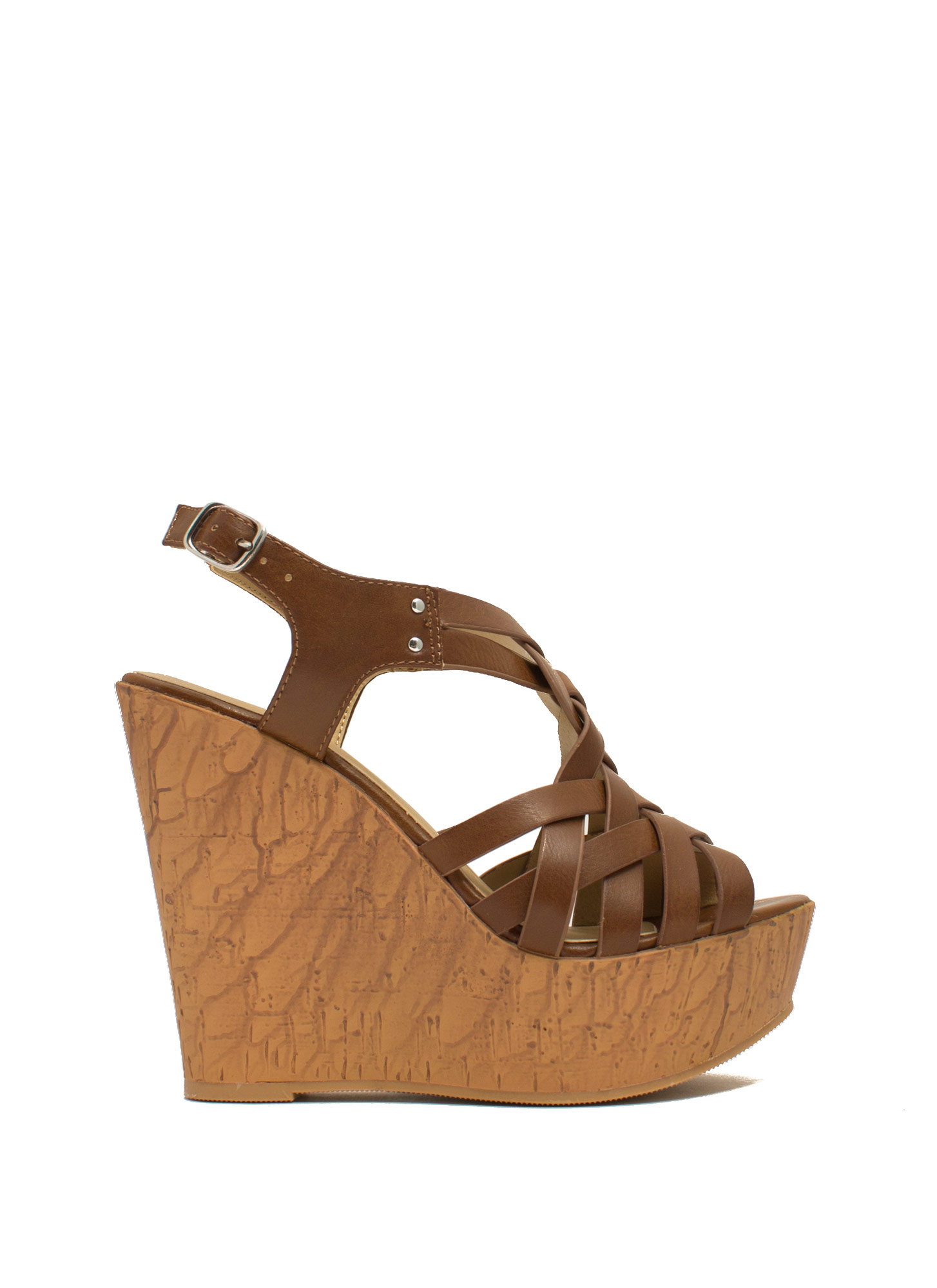 Weave It Alone Platform Wedges TAN