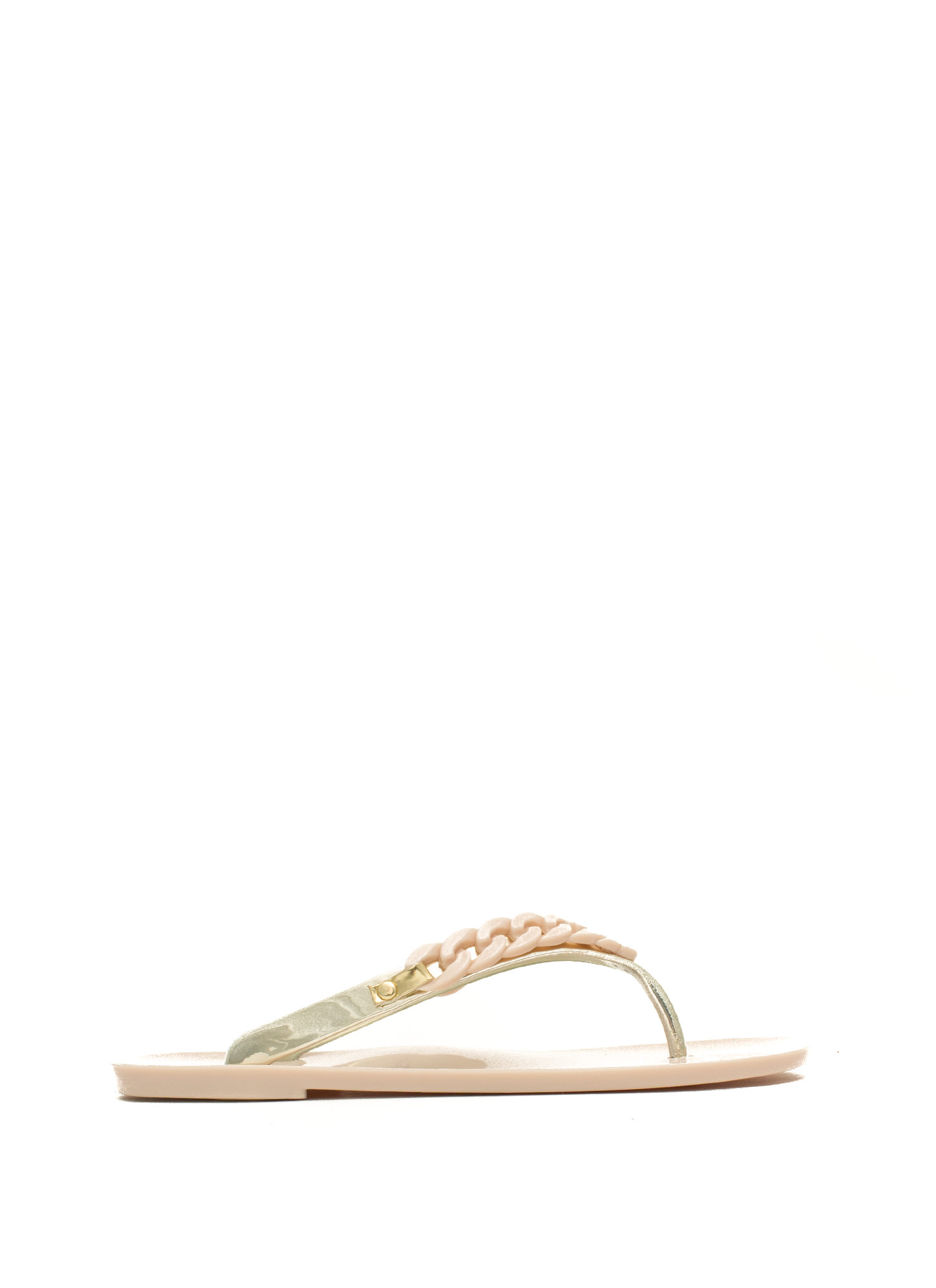 Curb Link Jelly Thong Sandals NUDEGOLD