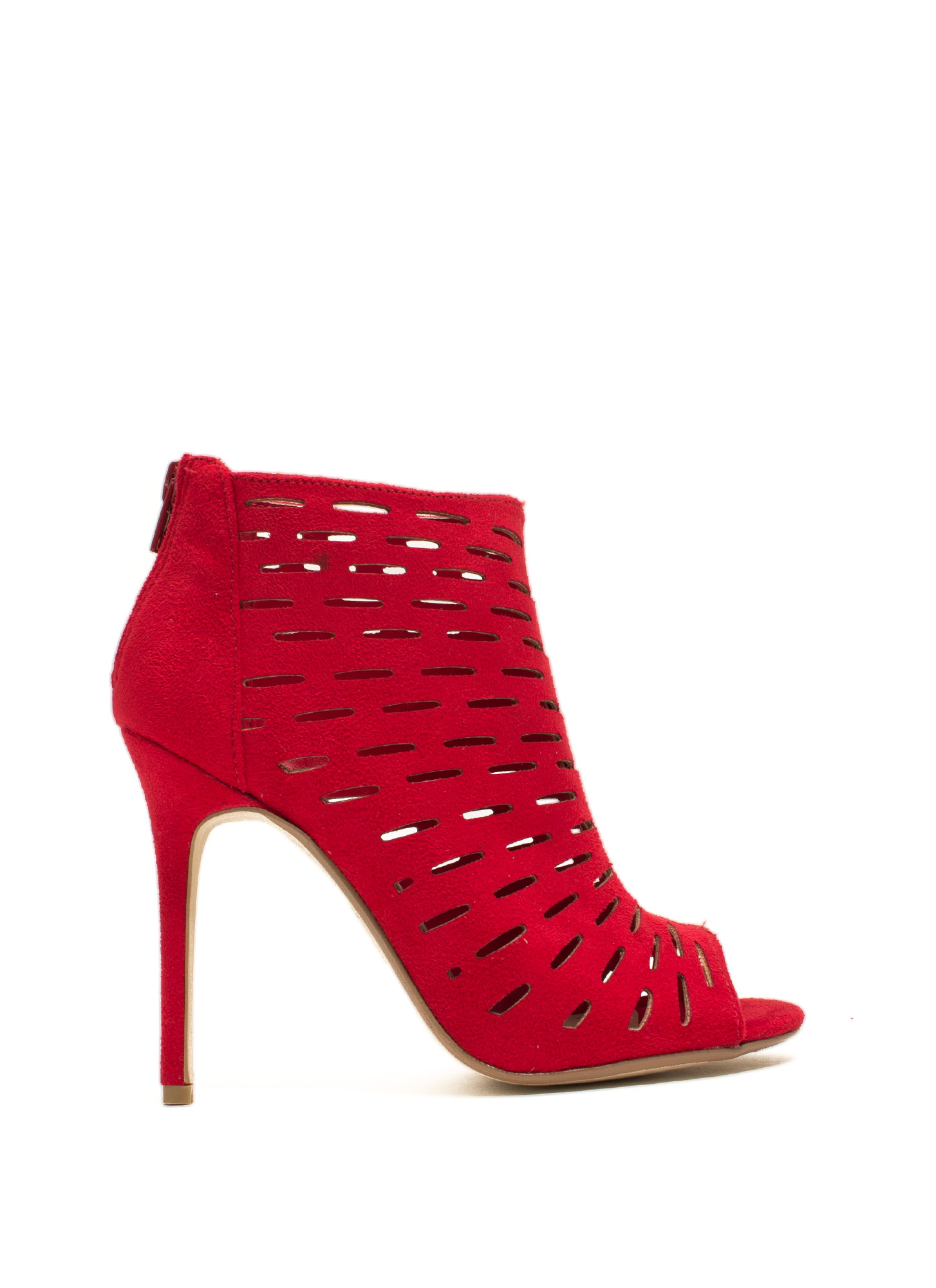 Slit Tight Bootie Heels RED