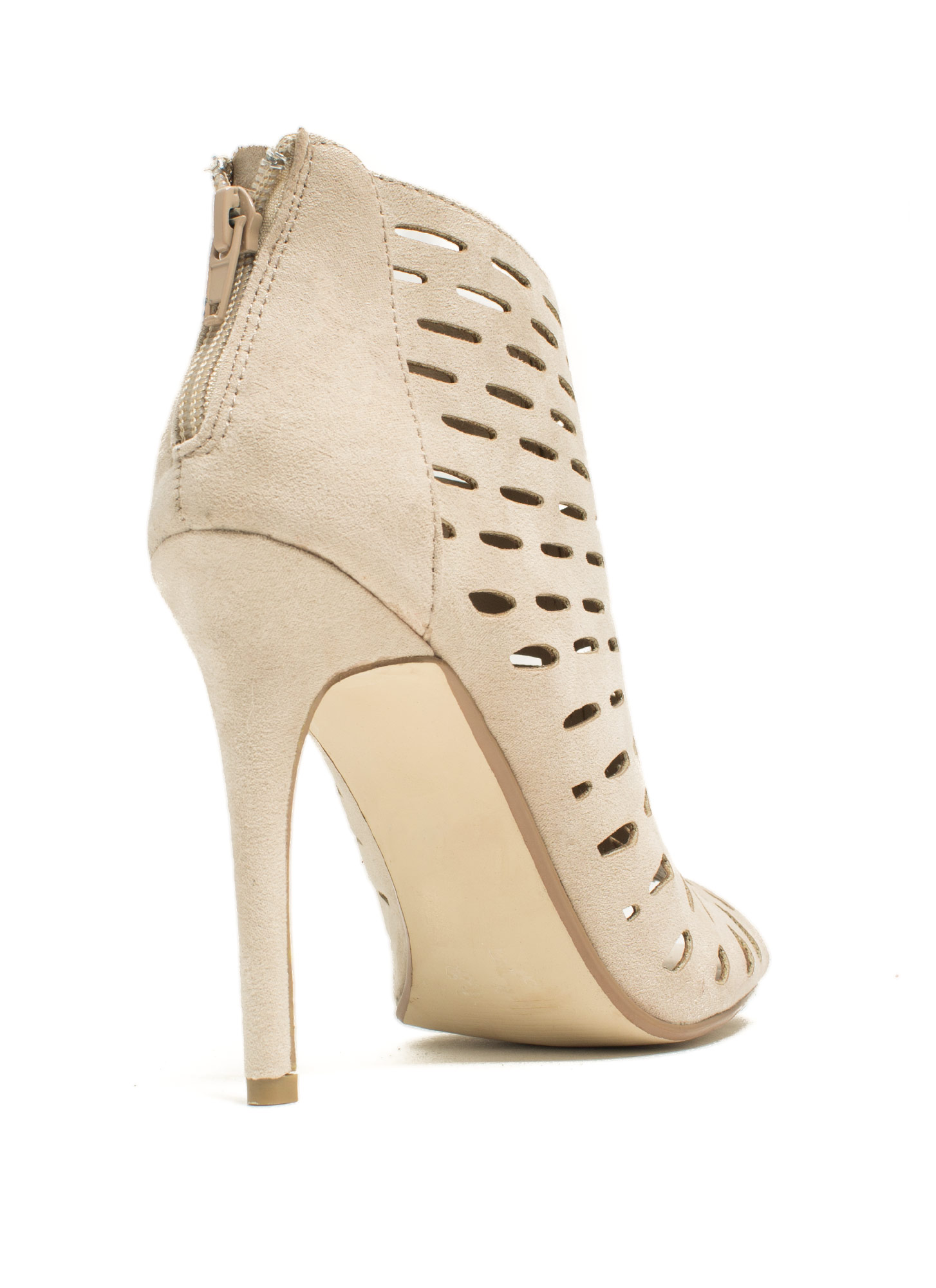 Slit Tight Bootie Heels STONE