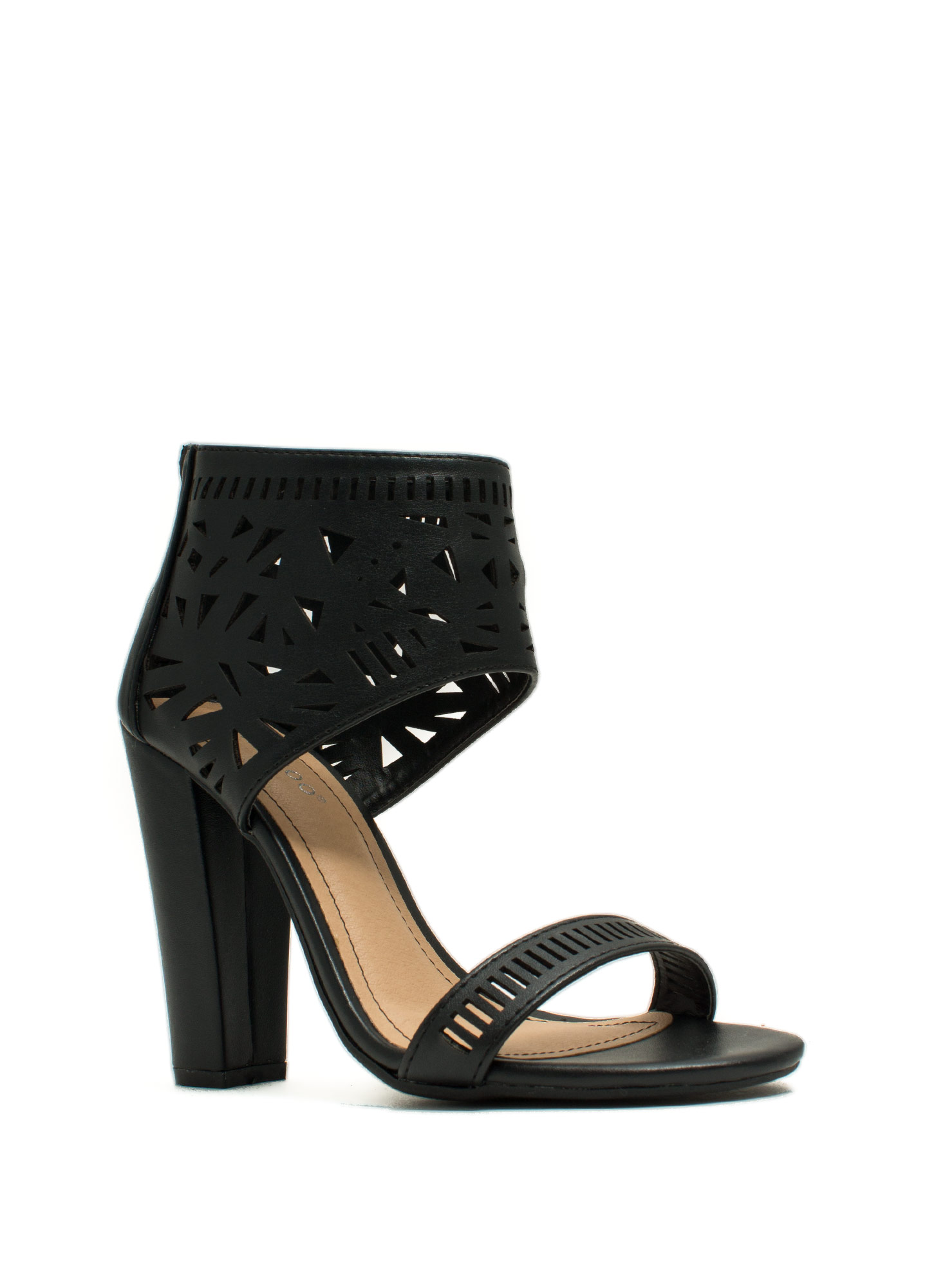 Geometric Play Laser Cut-Out Heels BLACK