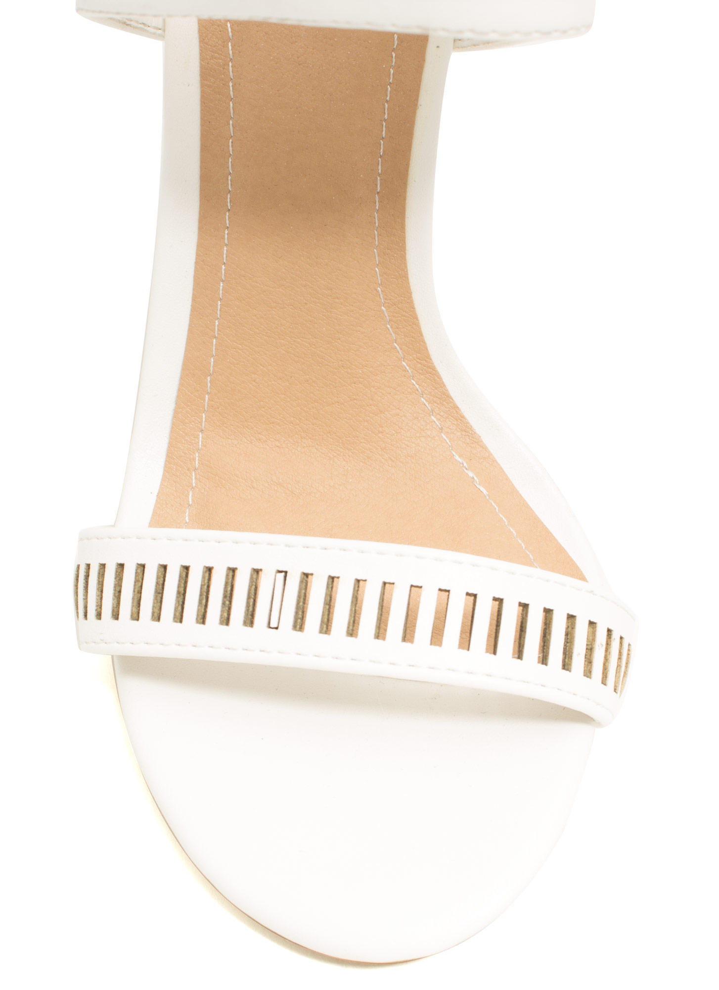 Geometric Play Laser Cut-Out Heels WHITE