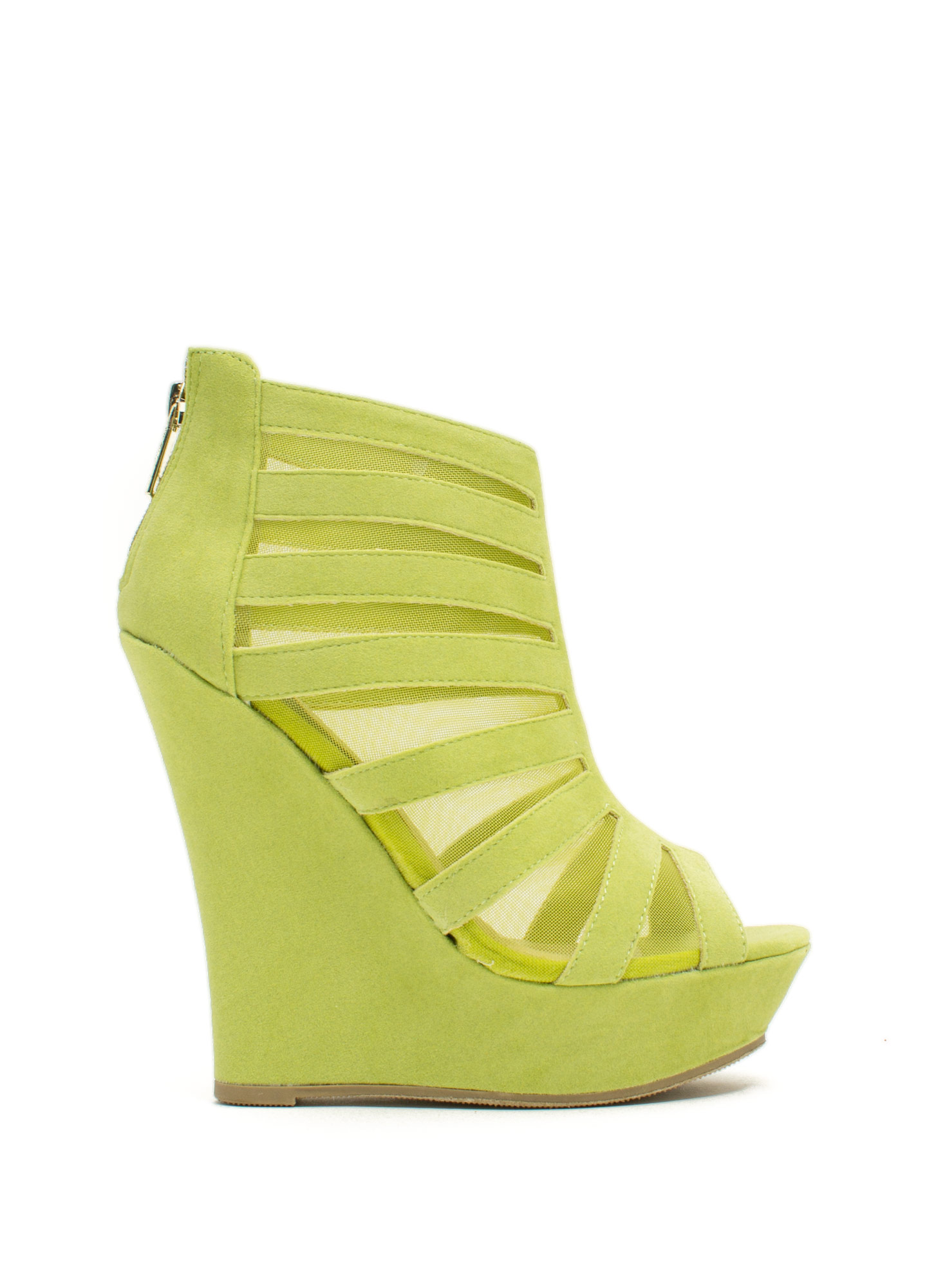 Mesh Inset Laddered Wedges LIME