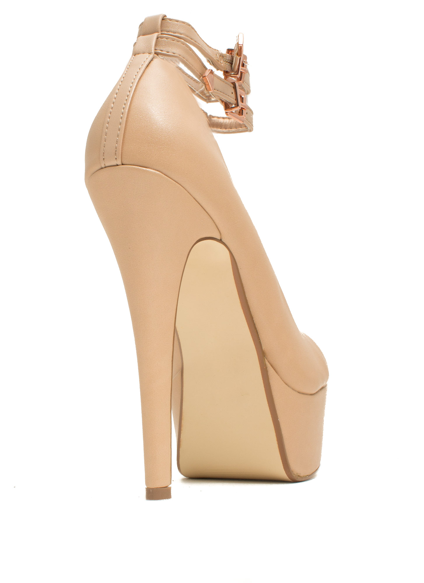 On The Double Faux Leather Heels NUDE