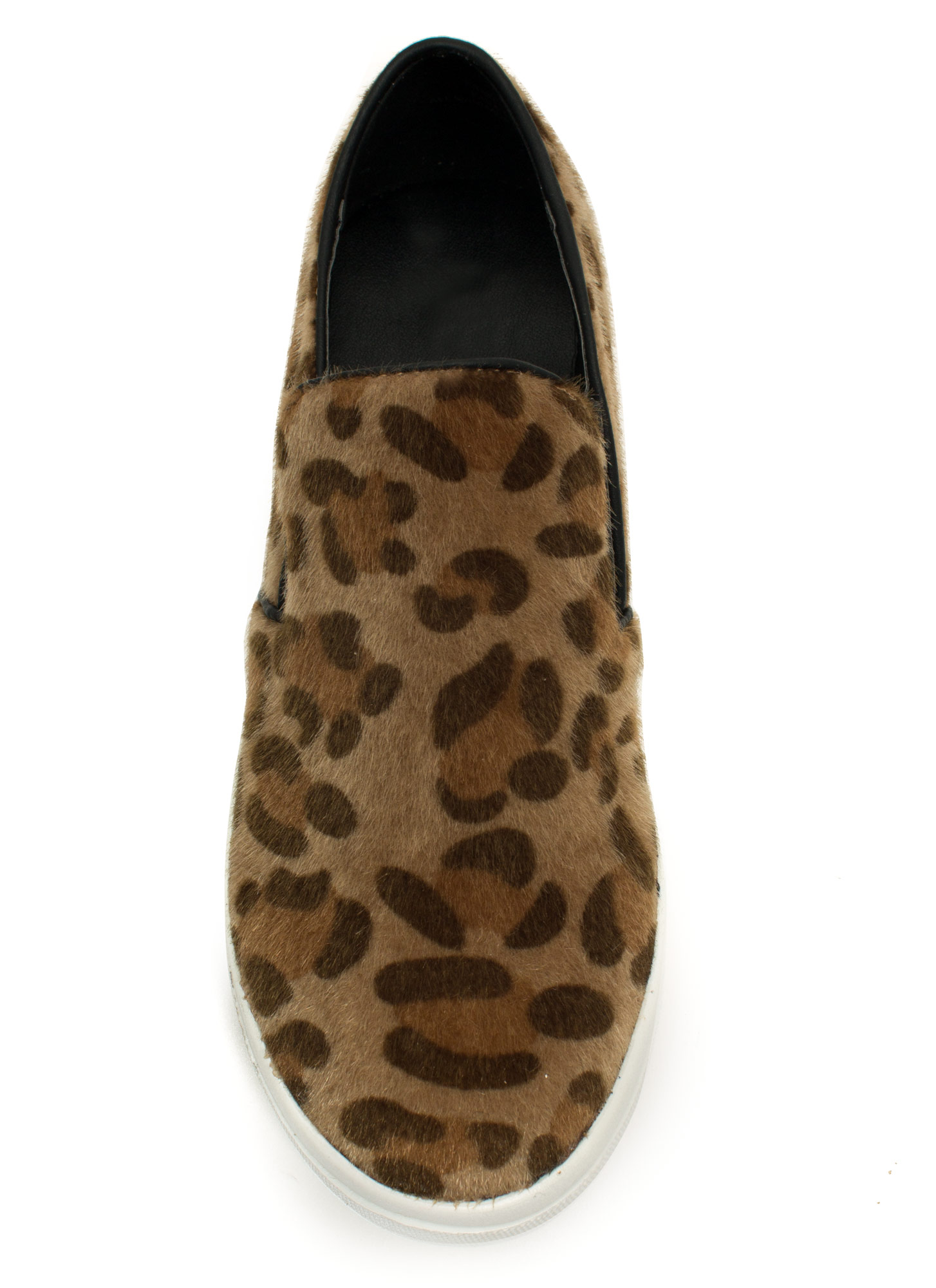 Furry Piped Slip-On Sneakers LEOPARD
