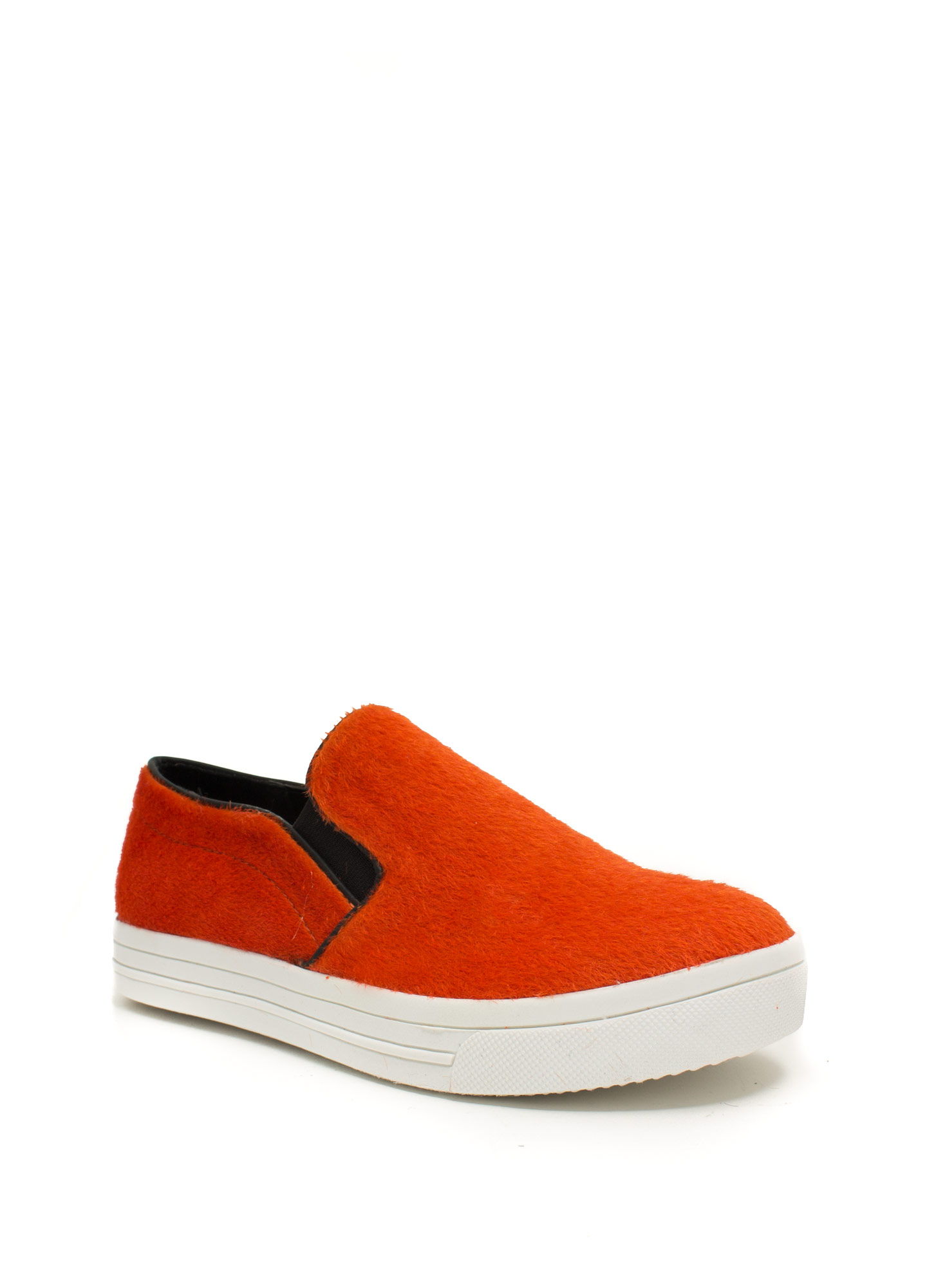 Furry Piped Slip-On Sneakers ORANGE