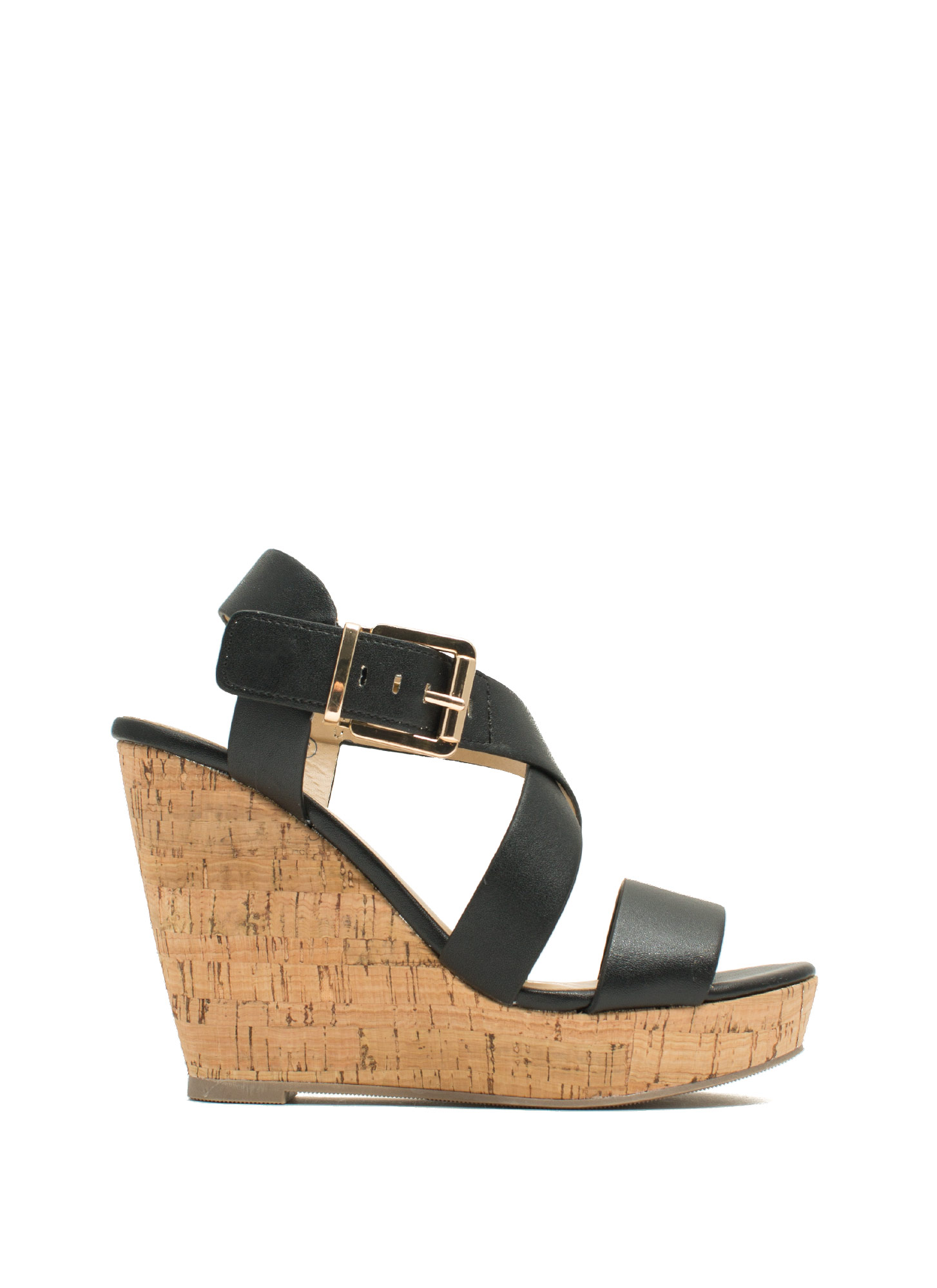 Crisscross Ur Heart Faux Leather Wedges BLACK