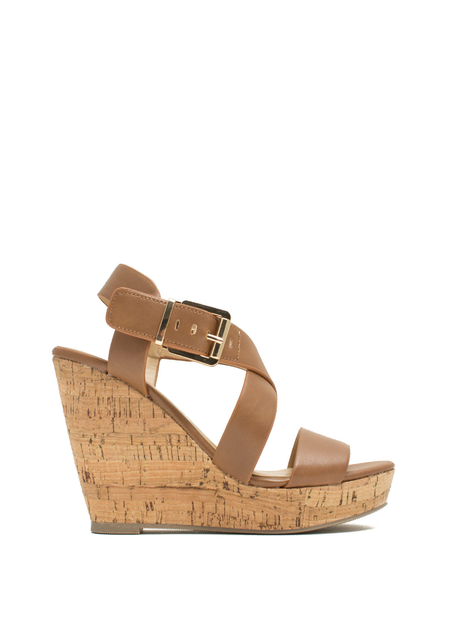 Crisscross Ur Heart Faux Leather Wedges TAN