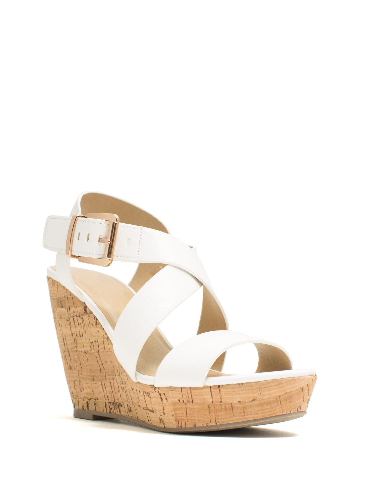 Crisscross Ur Heart Faux Leather Wedges WHITE