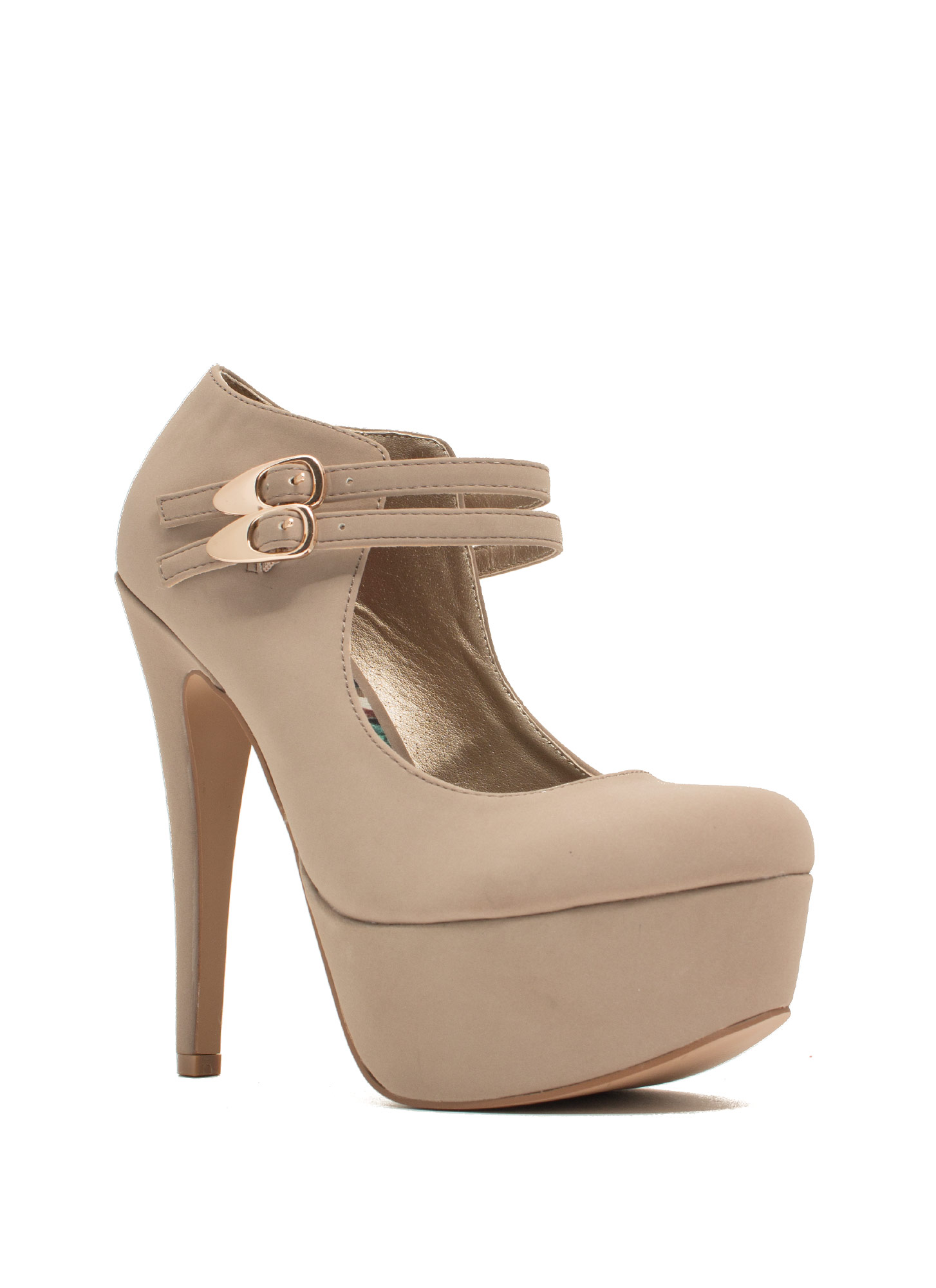Girl Crush Faux Nubuck Mary Jane Heels TAUPE