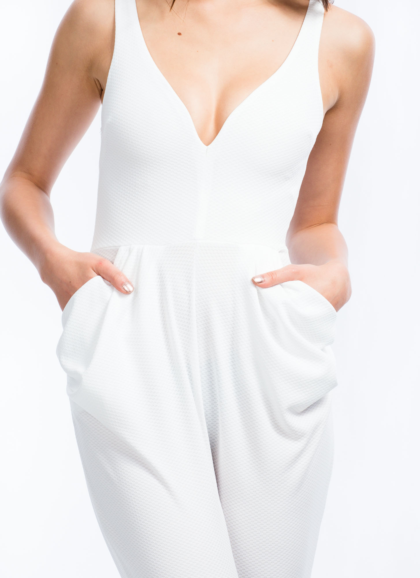 Take The Plunge Harem Jumpsuit WHITE