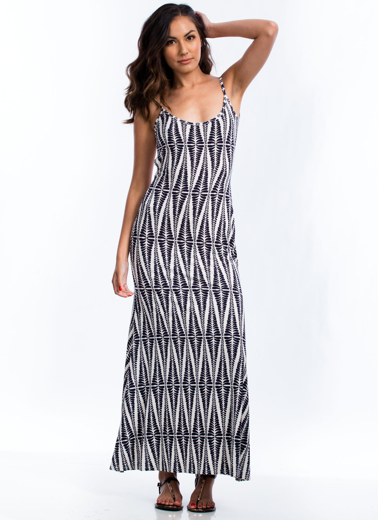 Abstract Leaves Maxi Dress NAVY