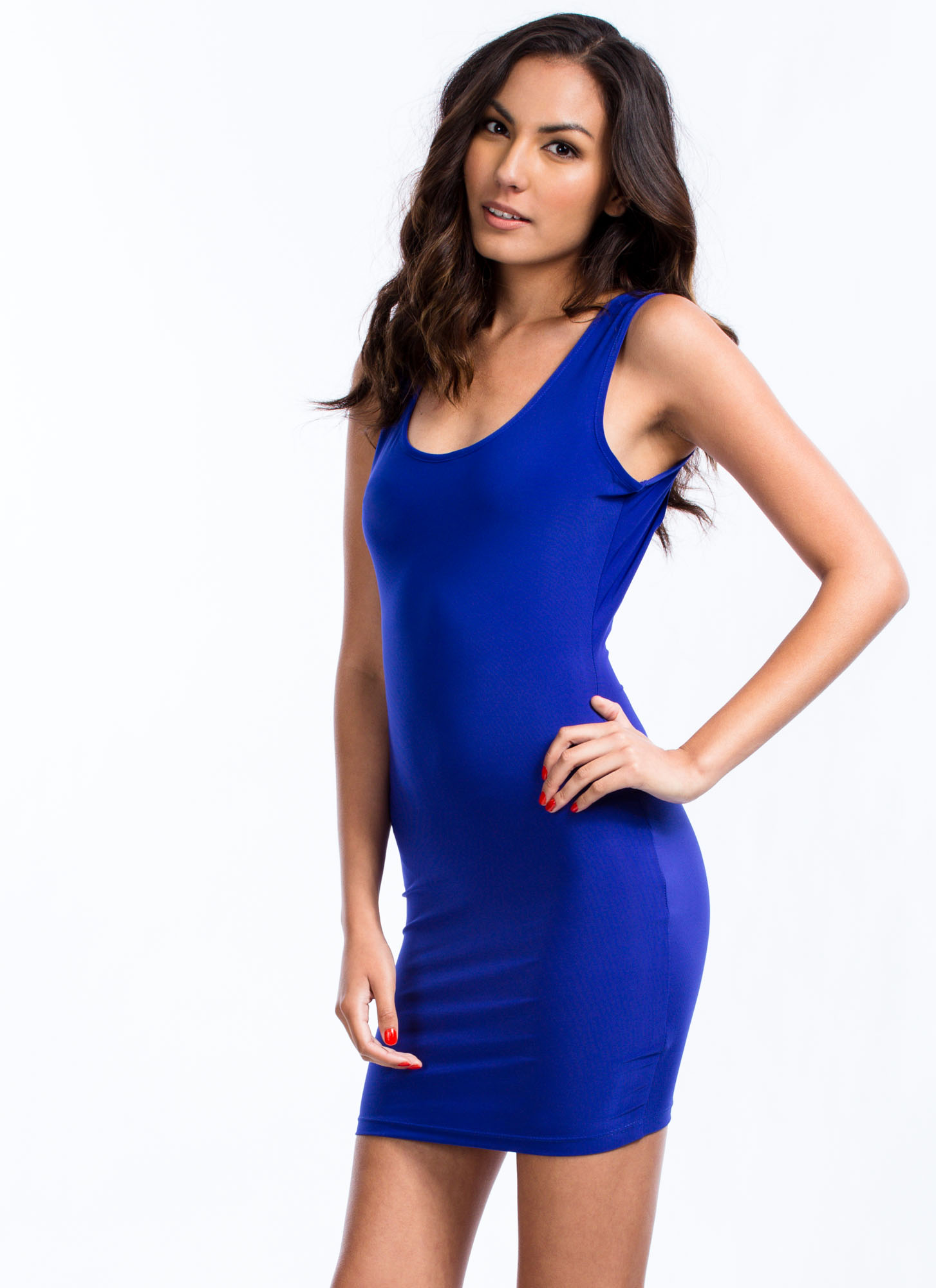 Knotty Shred Bodycon Dress COBALT