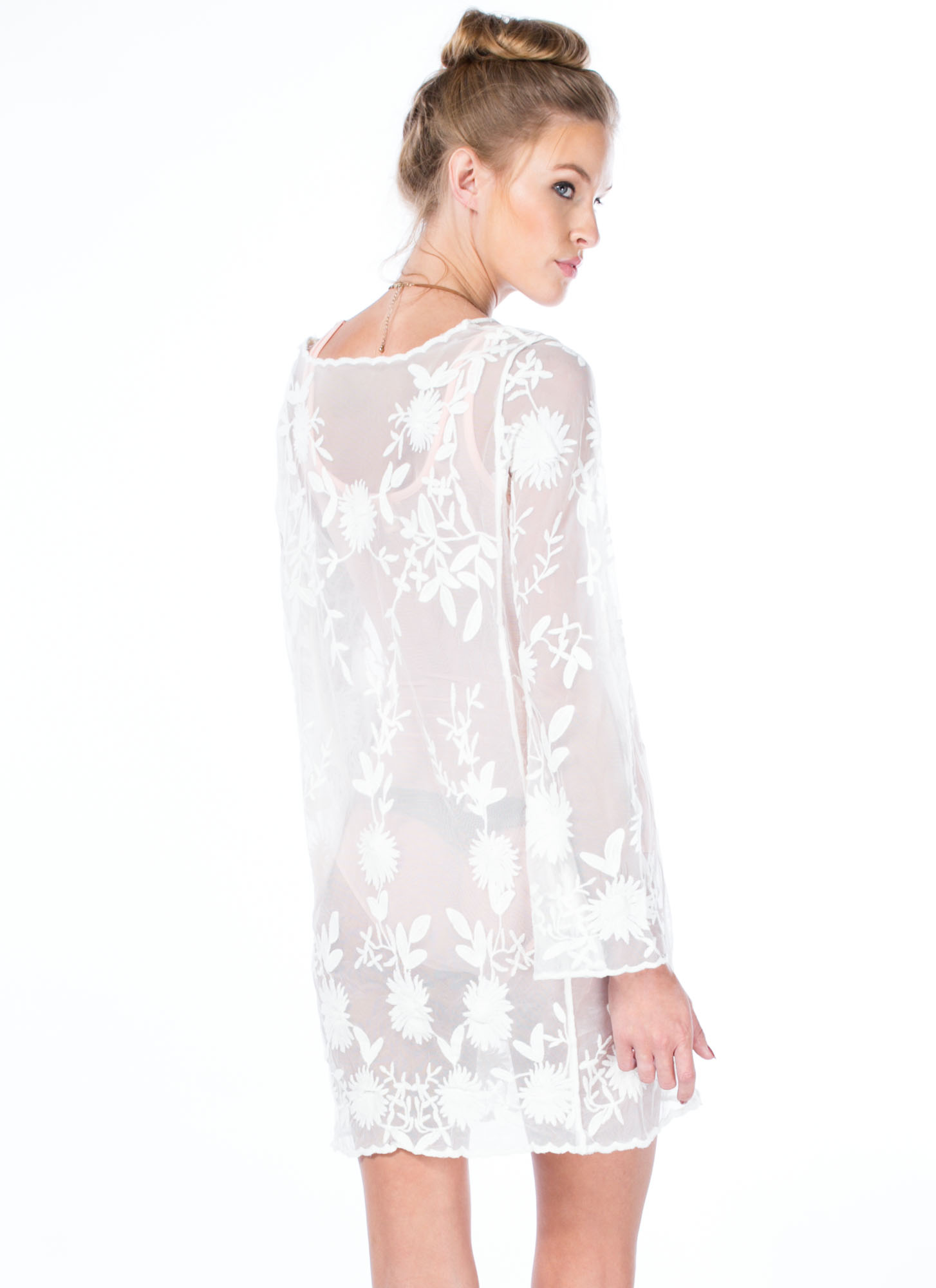 Sheer Right Through U Embroidered Dress IVORY