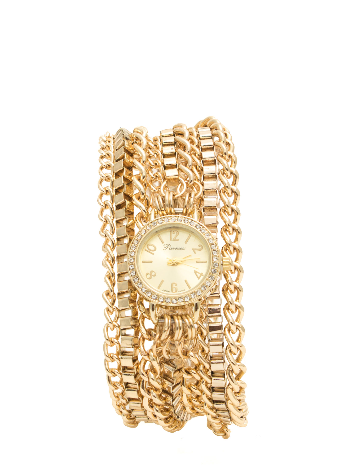 Rhinestone 'N Chain Wraparound Watch GOLD