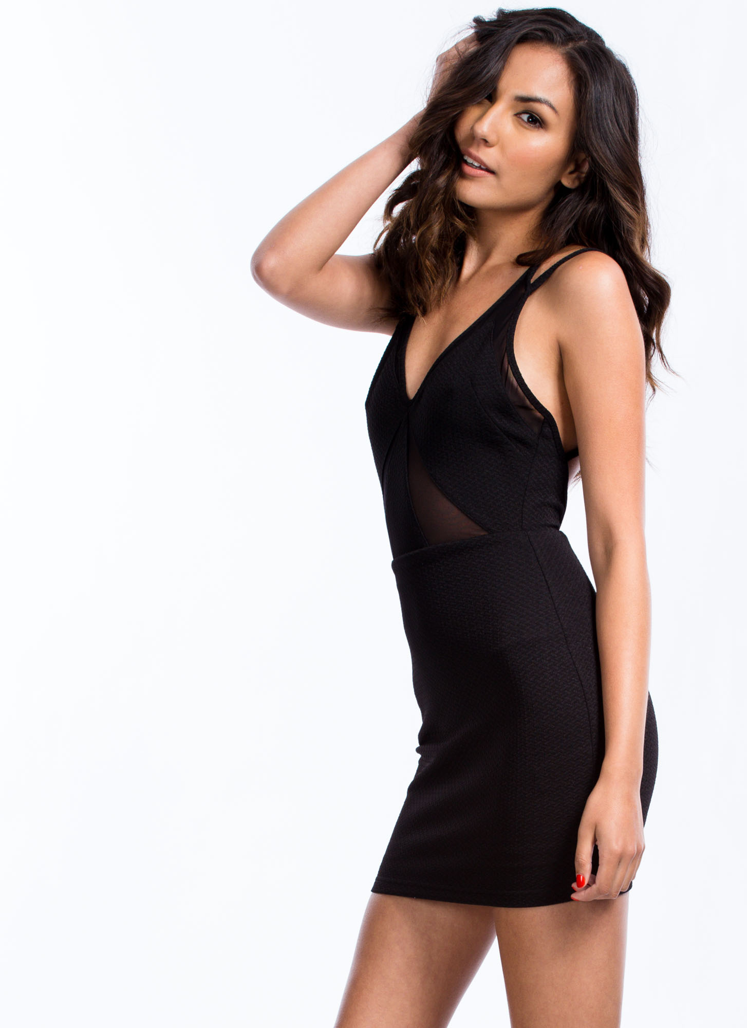 Geometric Mesh Inset Dress BLACK