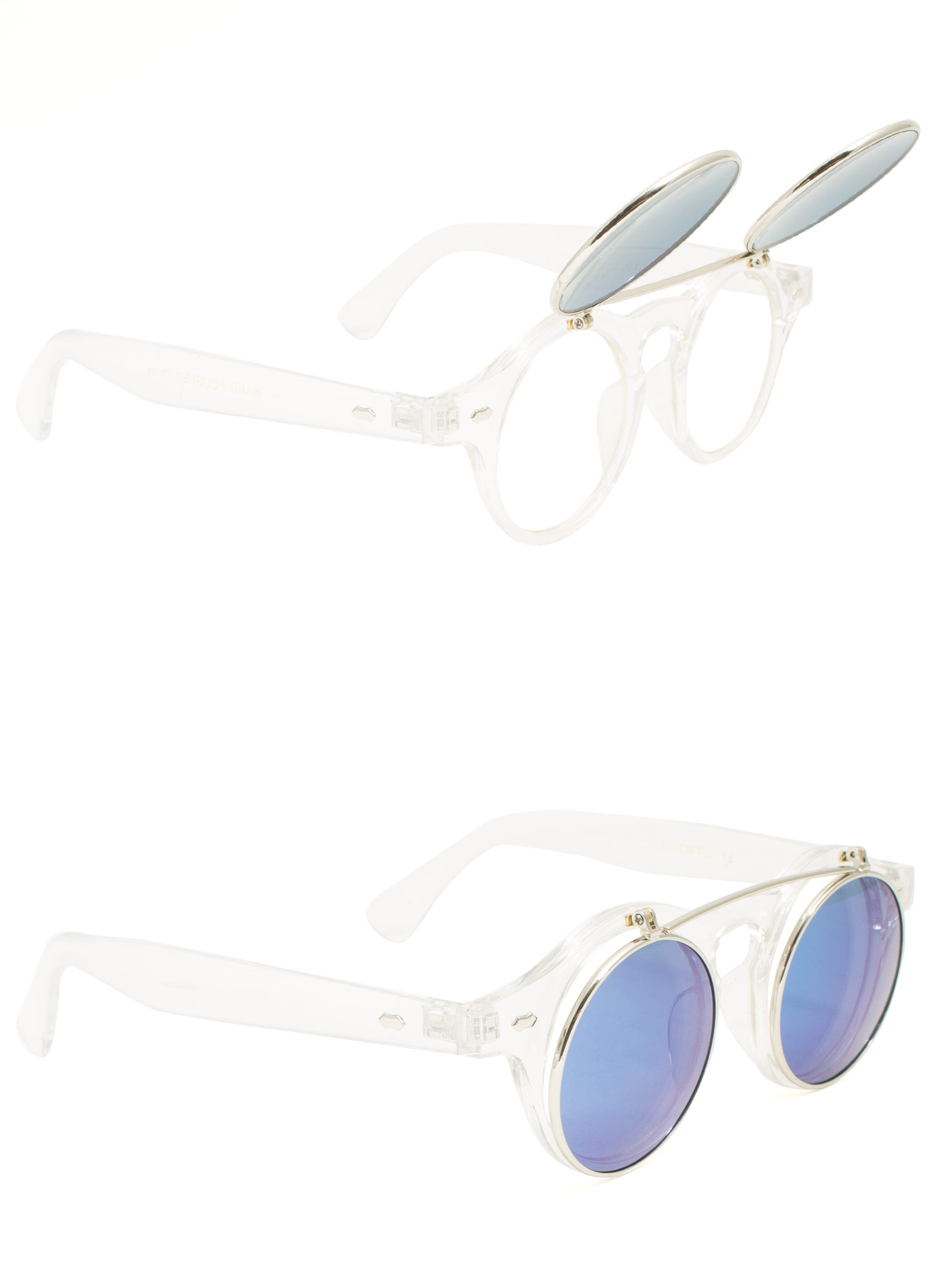 Round Reflective Flip-Up Sunglasses BLUECLEAR