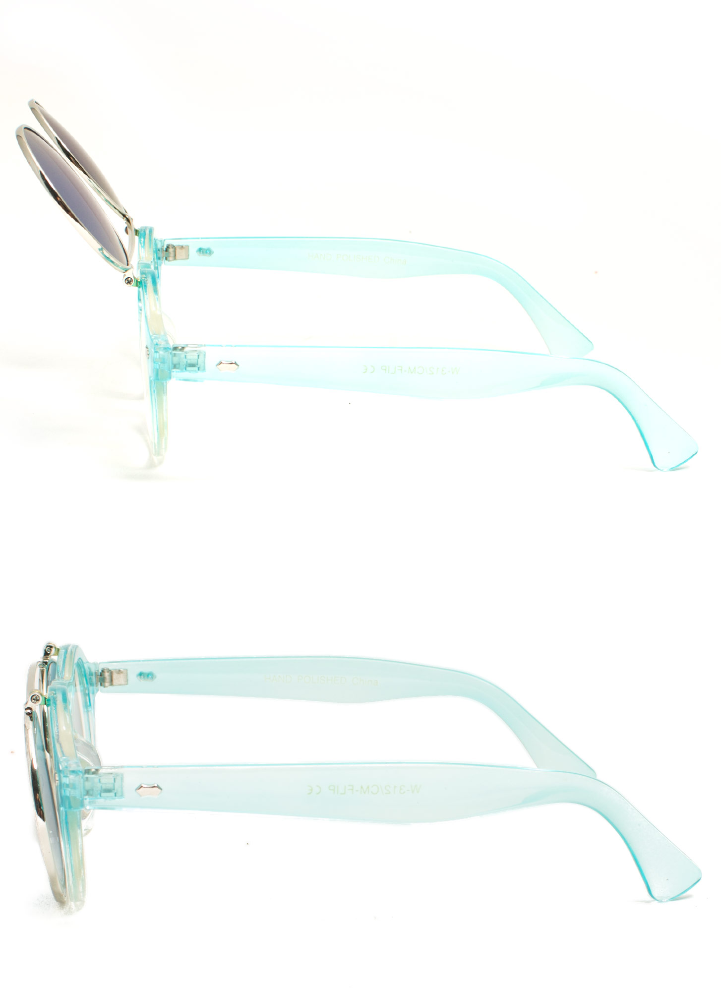 Round Reflective Flip-Up Sunglasses BLUETEAL
