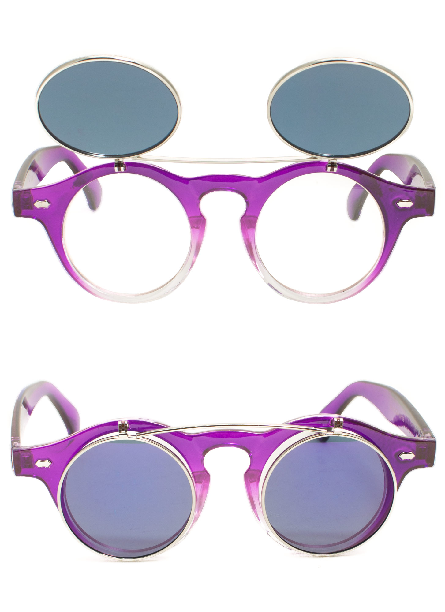 Round Reflective Flip-Up Sunglasses PURPLE