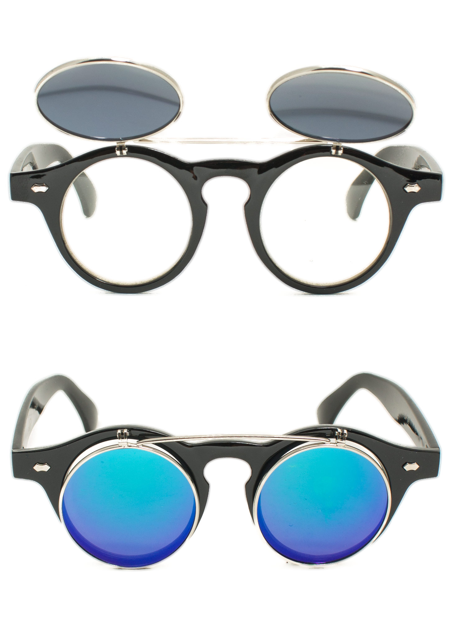Round Reflective Flip-Up Sunglasses TEALBLACK