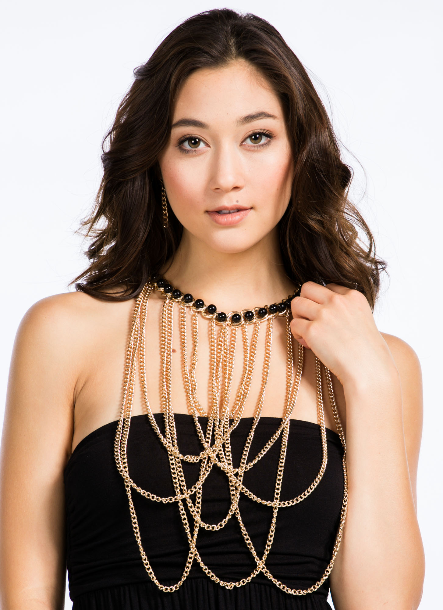 Draped 'N Looped Chain Link Necklace Set GOLDBLACK
