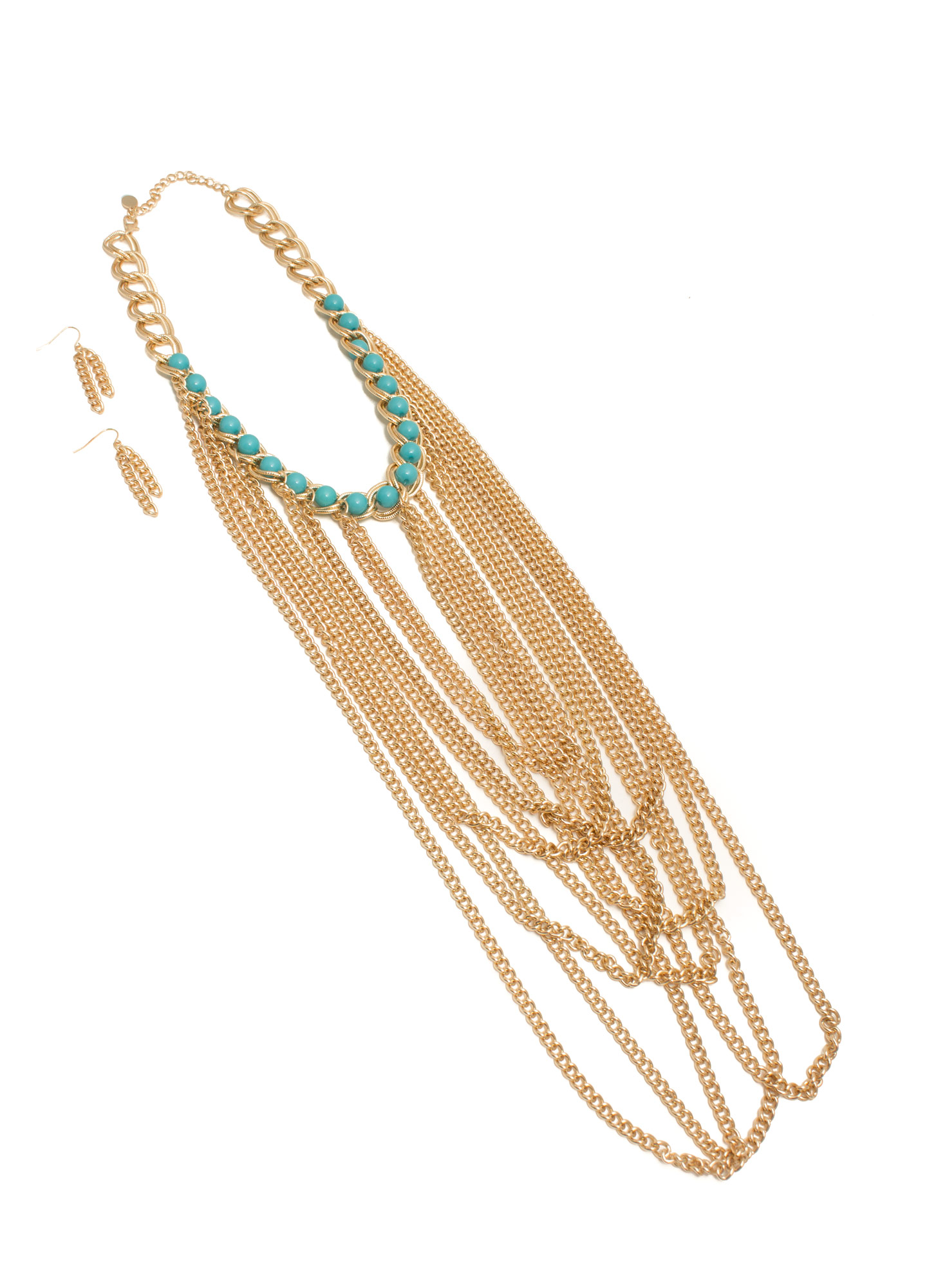Draped 'N Looped Chain Link Necklace Set GOLDTURQ