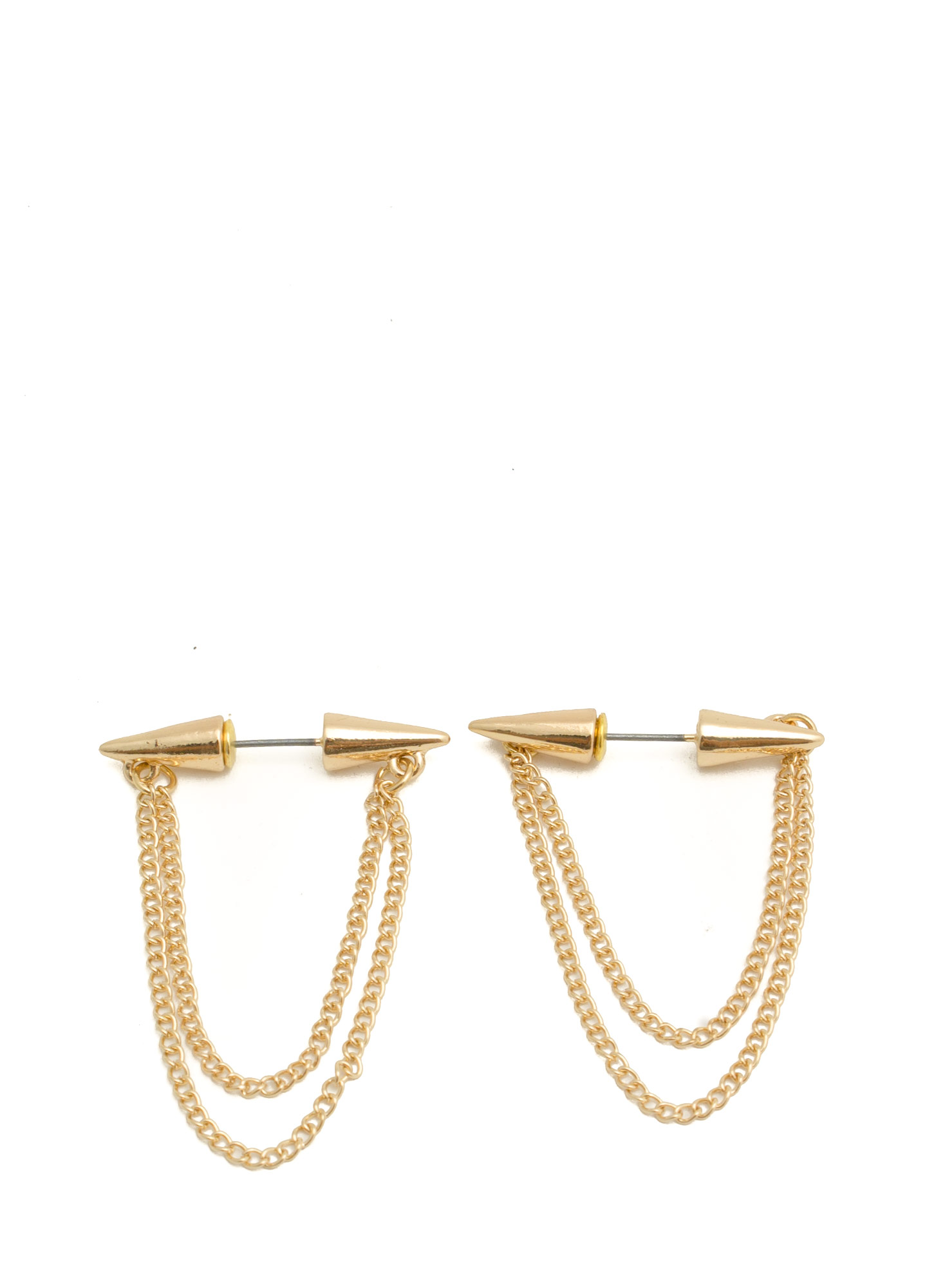 Spike Thru Chain Earrings GOLD
