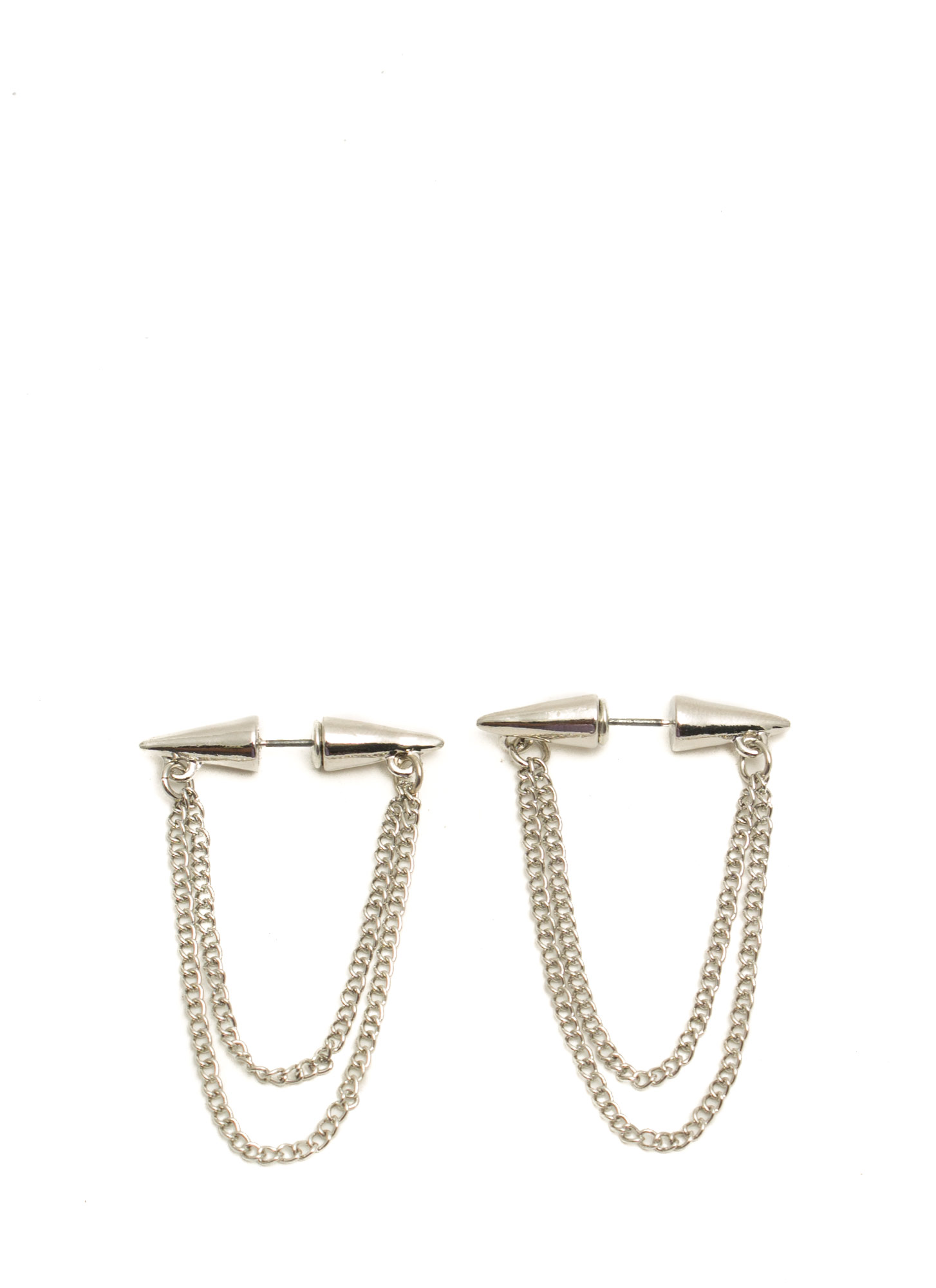 Spike Thru Chain Earrings SILVER