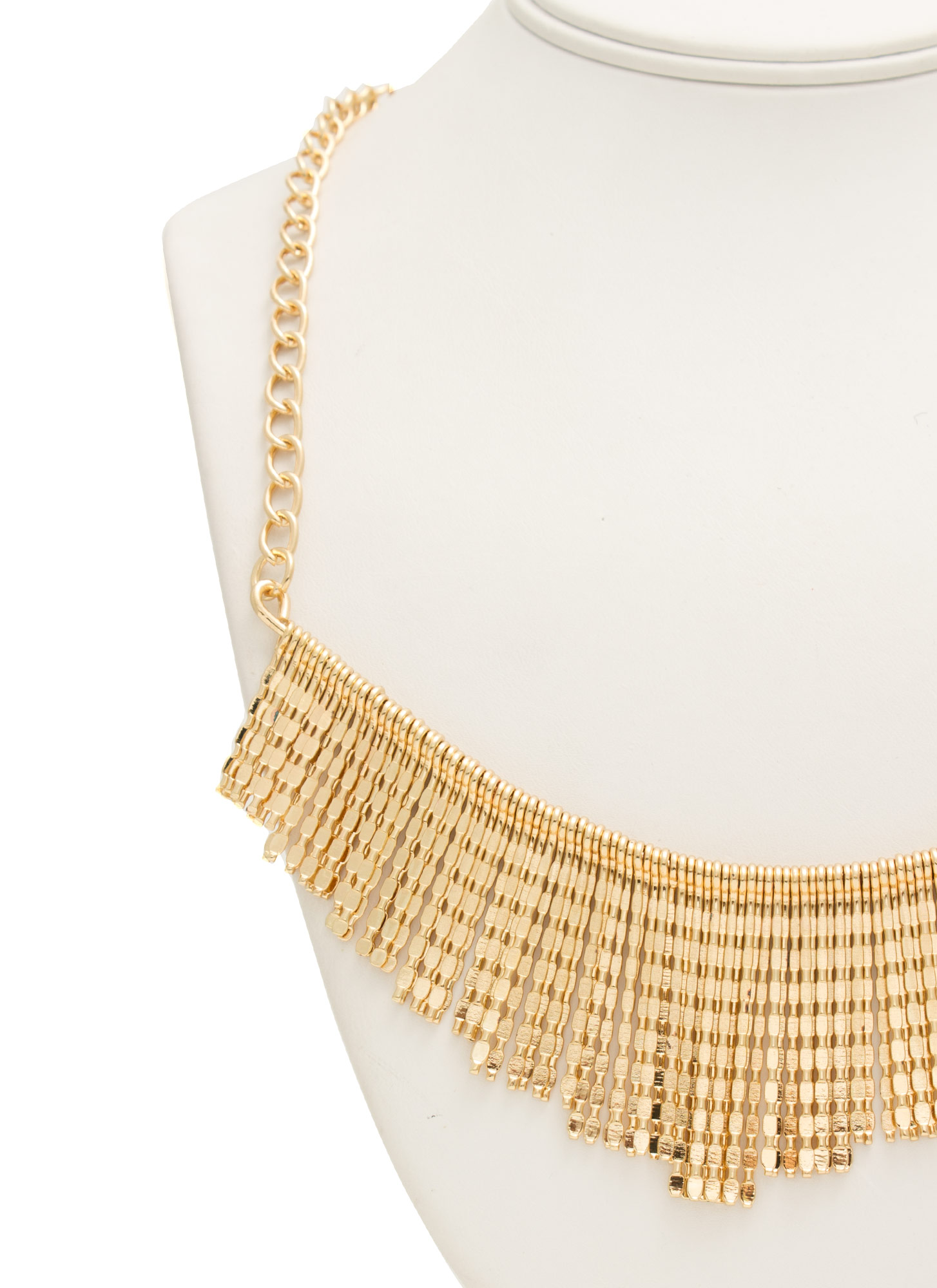 Textured Fringe Necklace GOLD