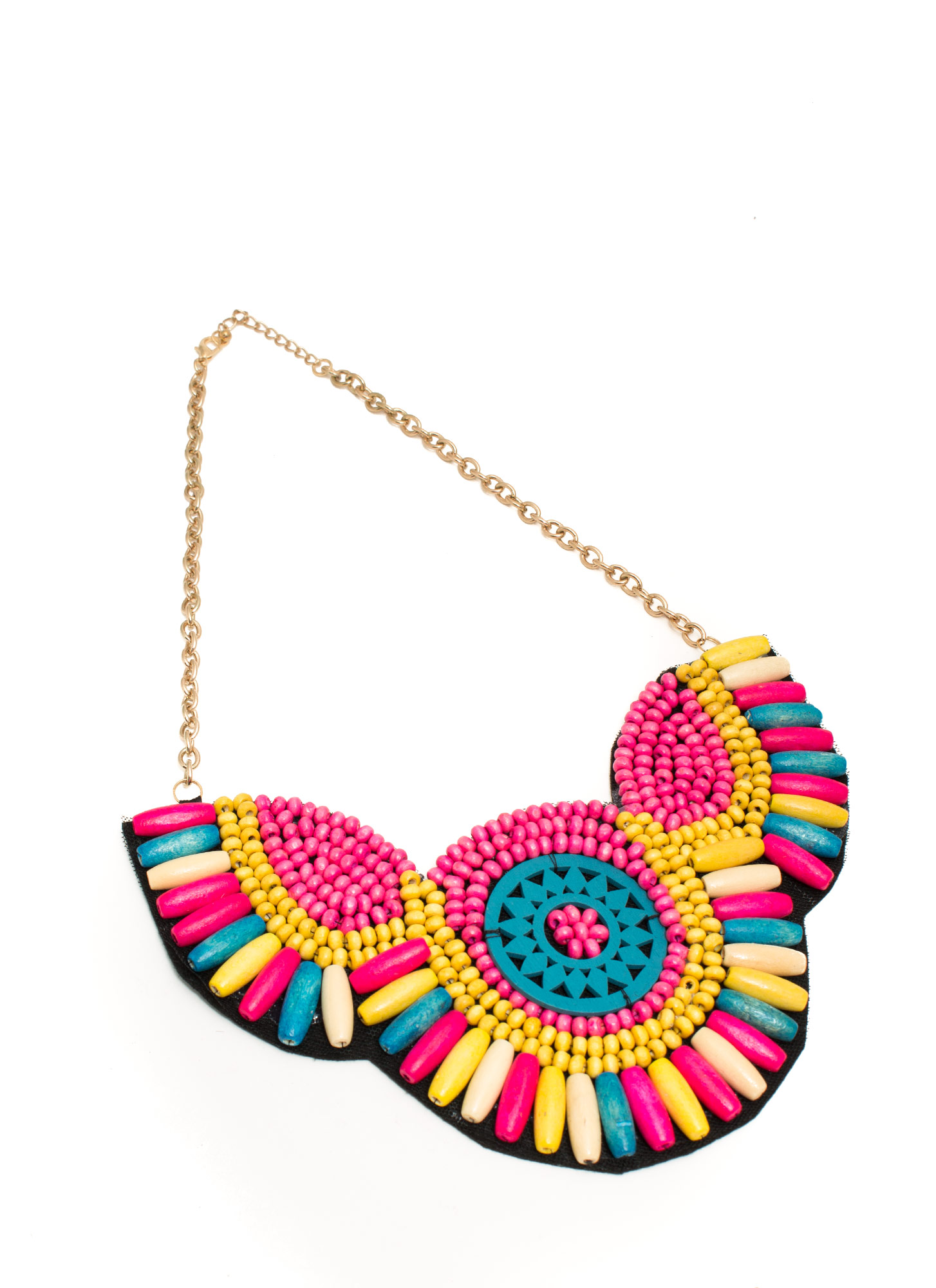 Beaded Bib Necklace TURQMULTI