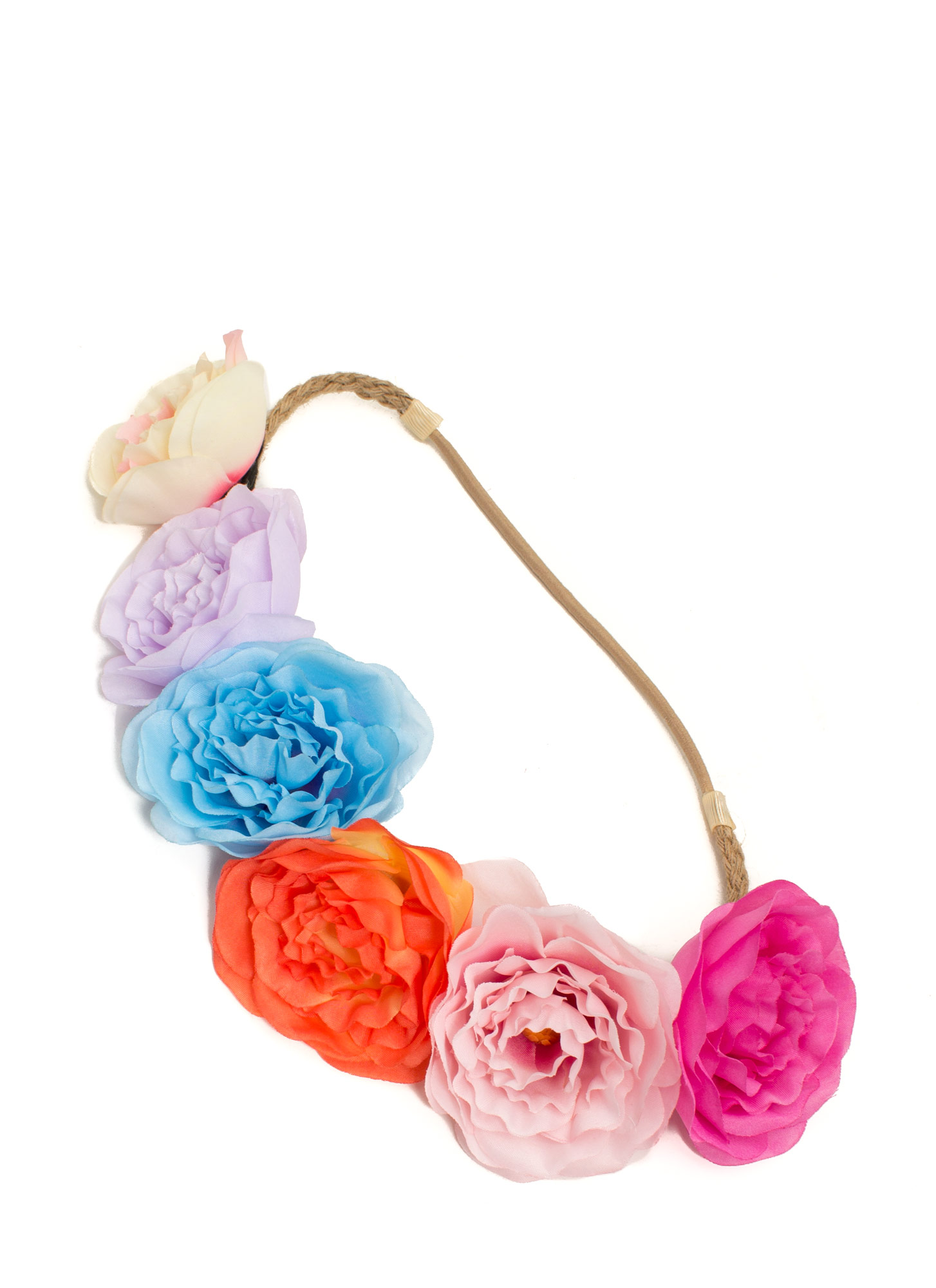 Braided Twine Peony Flower Headband MULTI
