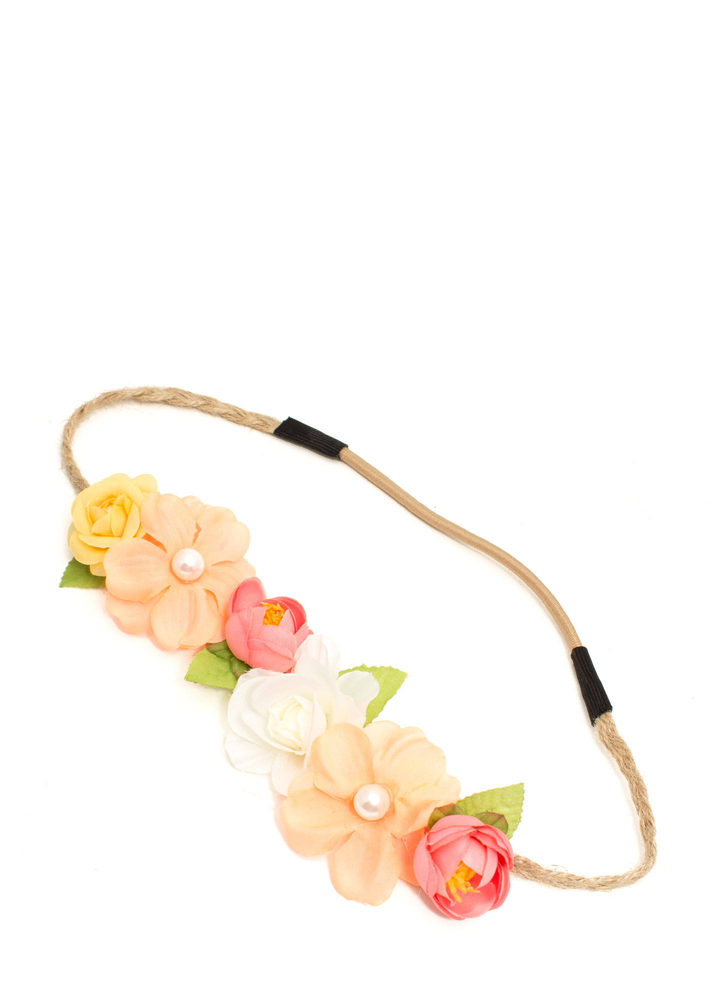 Faux Pearl Flower Braided Headband PEACHMULTI